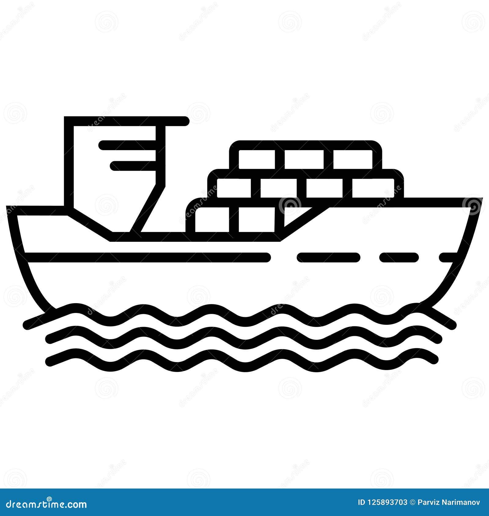 Linha fina navio de carga com sombra conceito do emblema do porto, voy