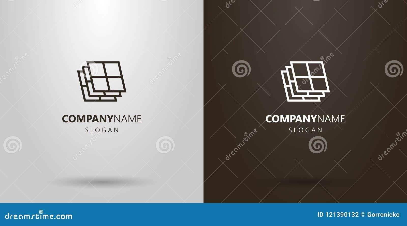 Linha geométrica logotipo do vetor simples da arte das janelas