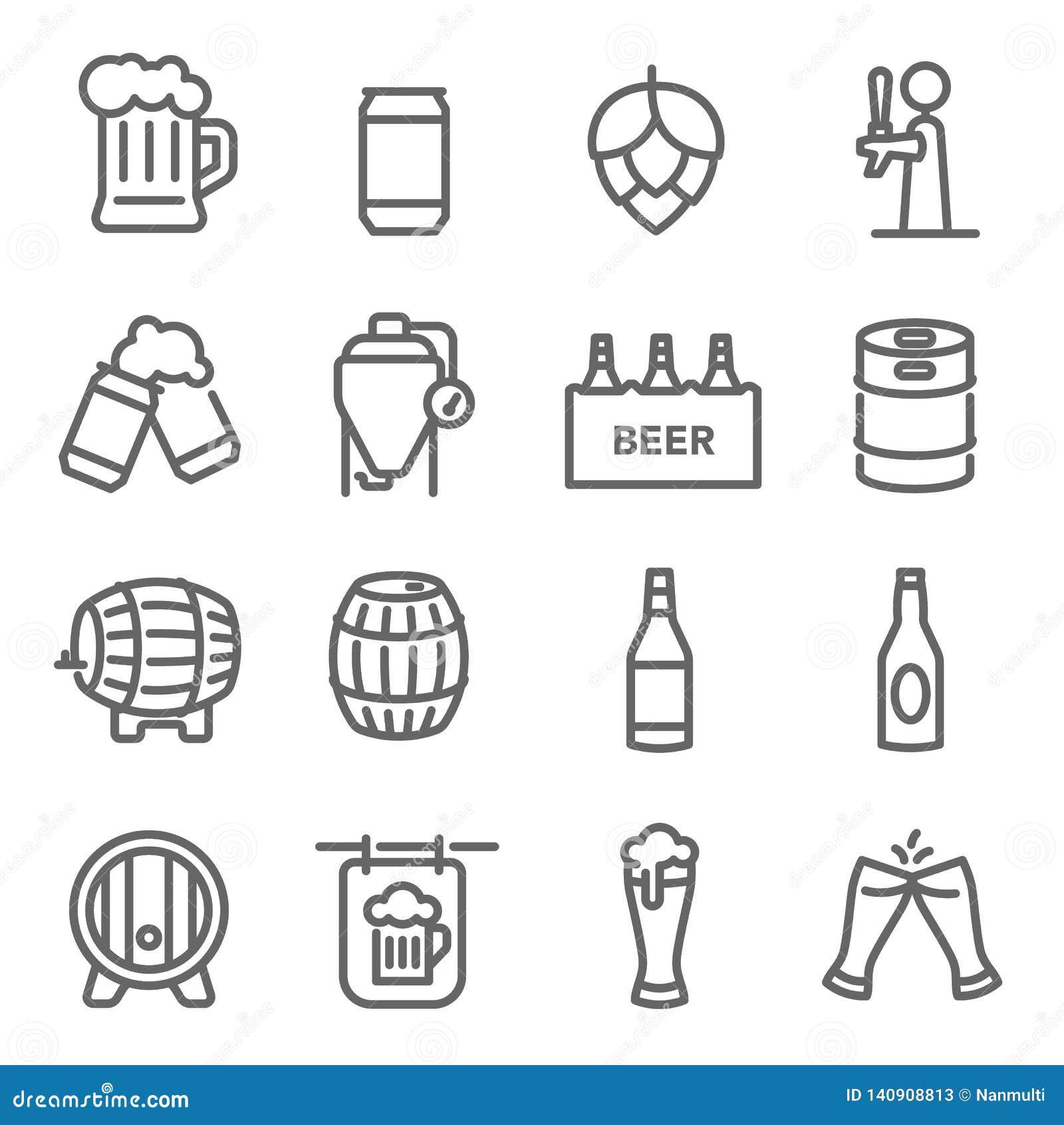 Linha grupo da cerveja do ícone Contém ícones como a cerveja, o tanque, os lúpulos e o mais do ofício Curso expandido