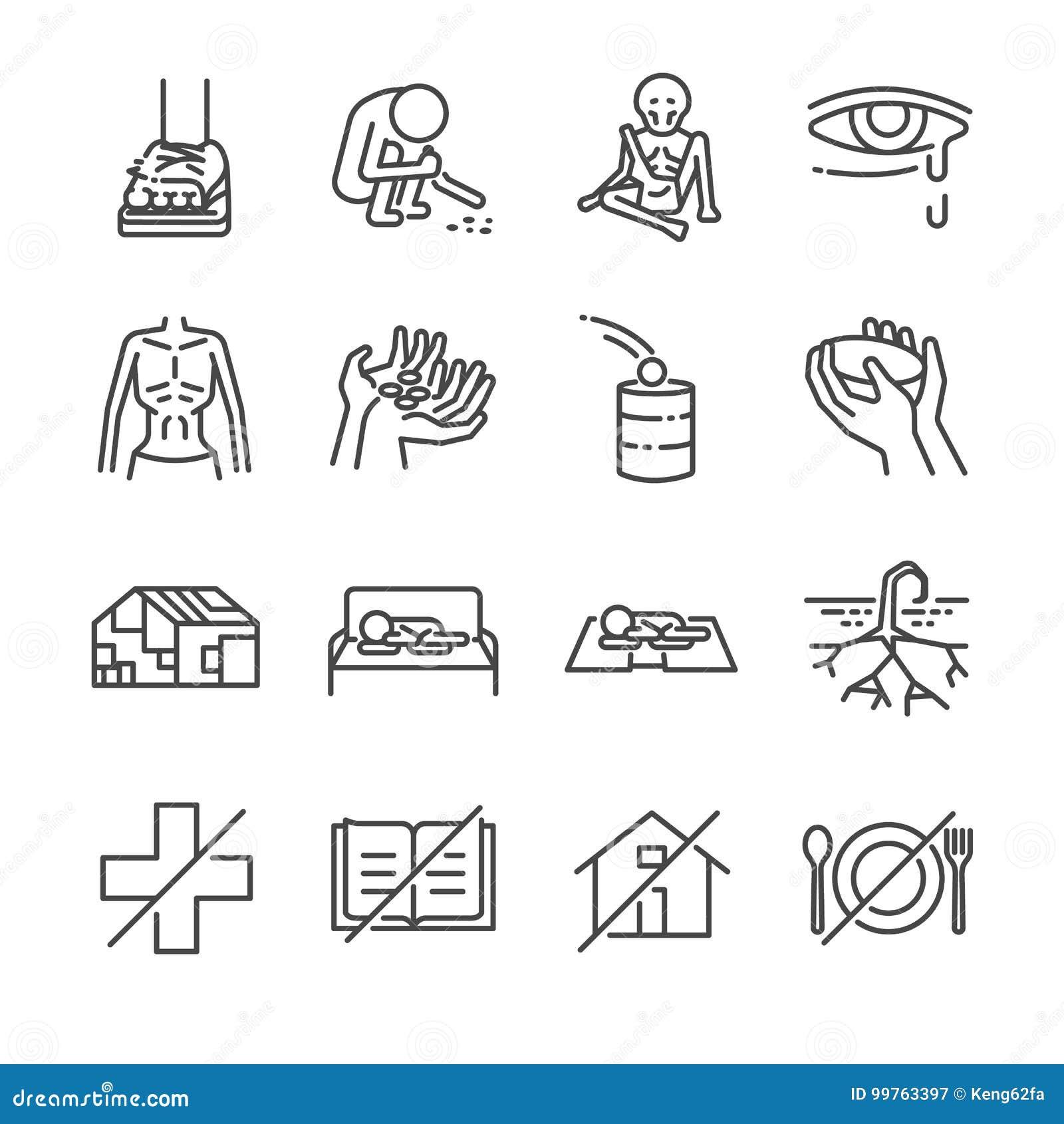 Linha grupo da necessidade do ícone