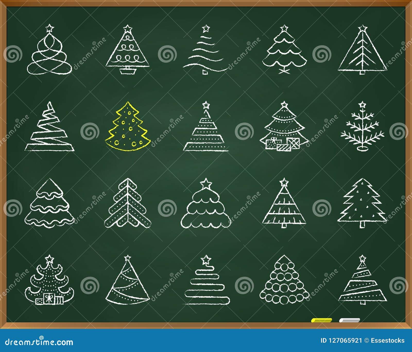 Linha grupo da tração do giz da árvore de Natal do vetor dos ícones