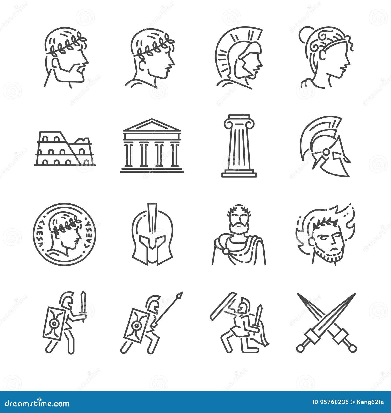 Linha grupo do império romano do ícone Incluiu os ícones como o soldado, a coluna, o coliseu, o santuário, o imperador e o mais