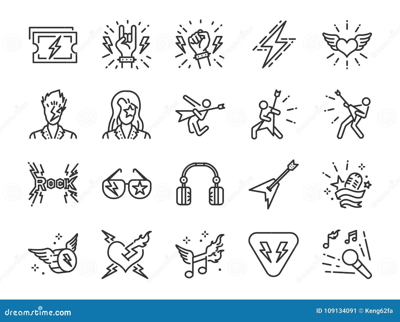 Linha grupo do rock and roll do ícone Incluiu os ícones como o balancim, o menino de couro, o concerto, a música, o músico, o cor