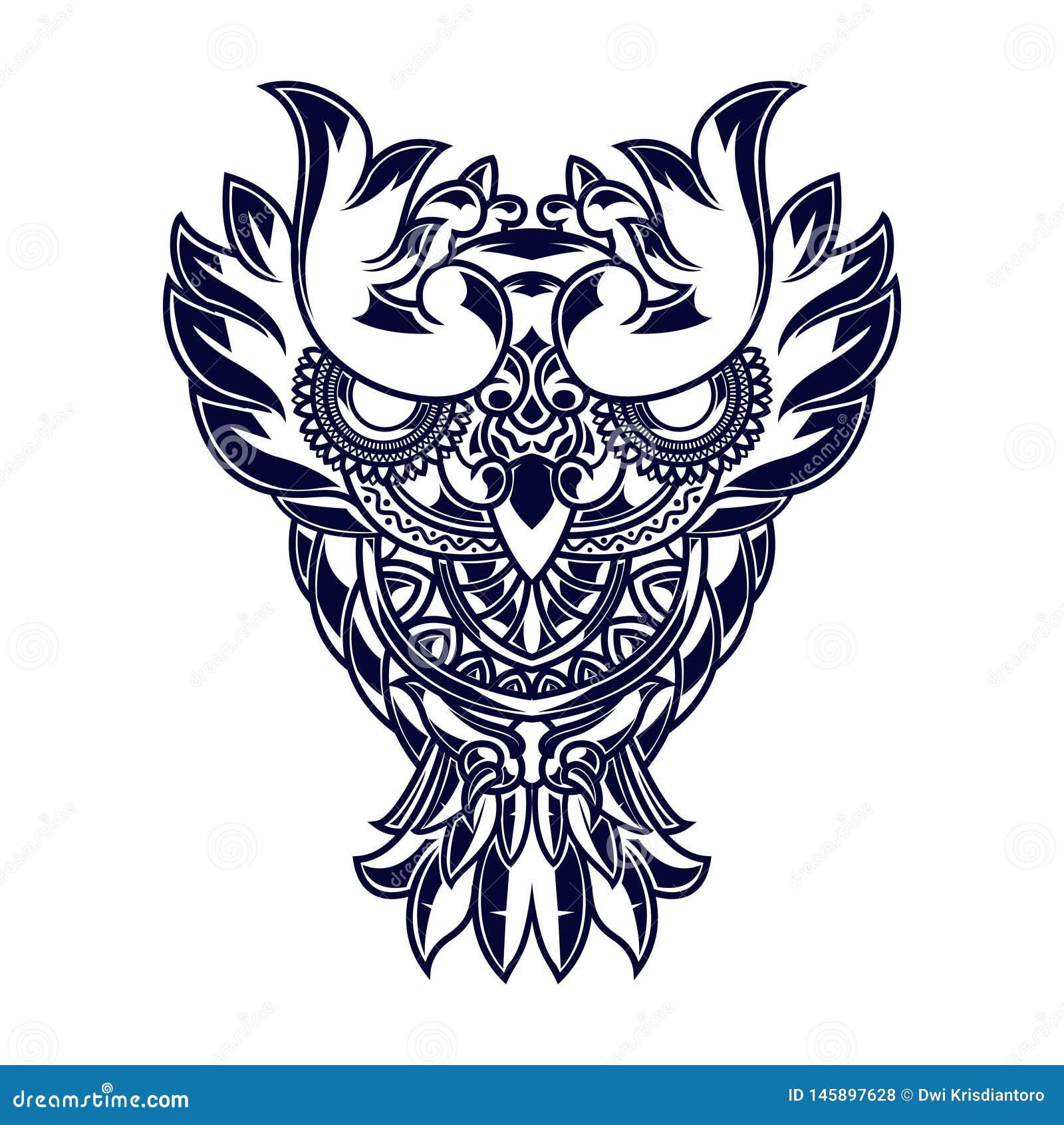 Linha ilustração da arte das corujas com ornamento da mandala