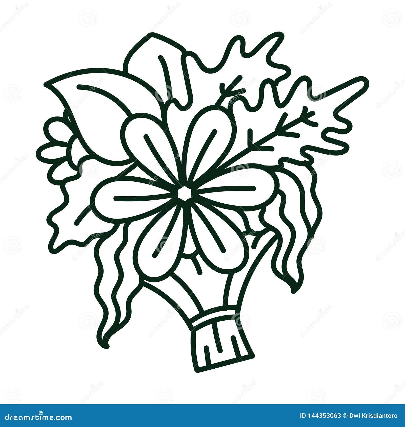 Linha ilustração da arte de um ramalhete das flores e das plantas