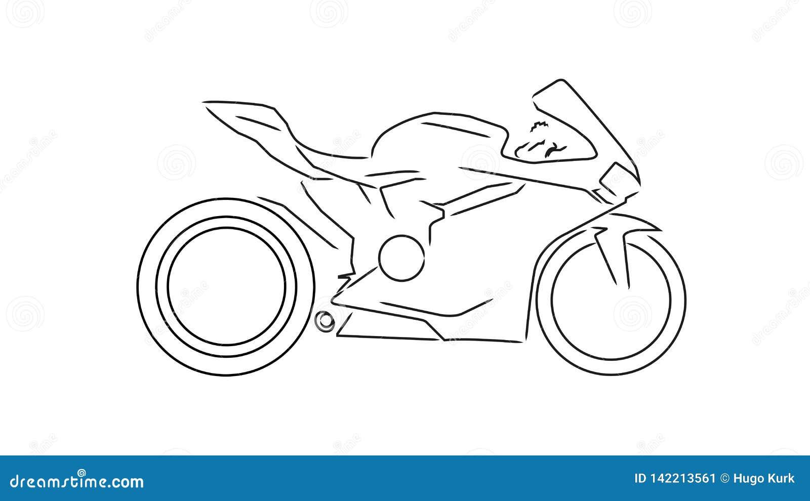Linha ilustra??o da motocicleta do esporte