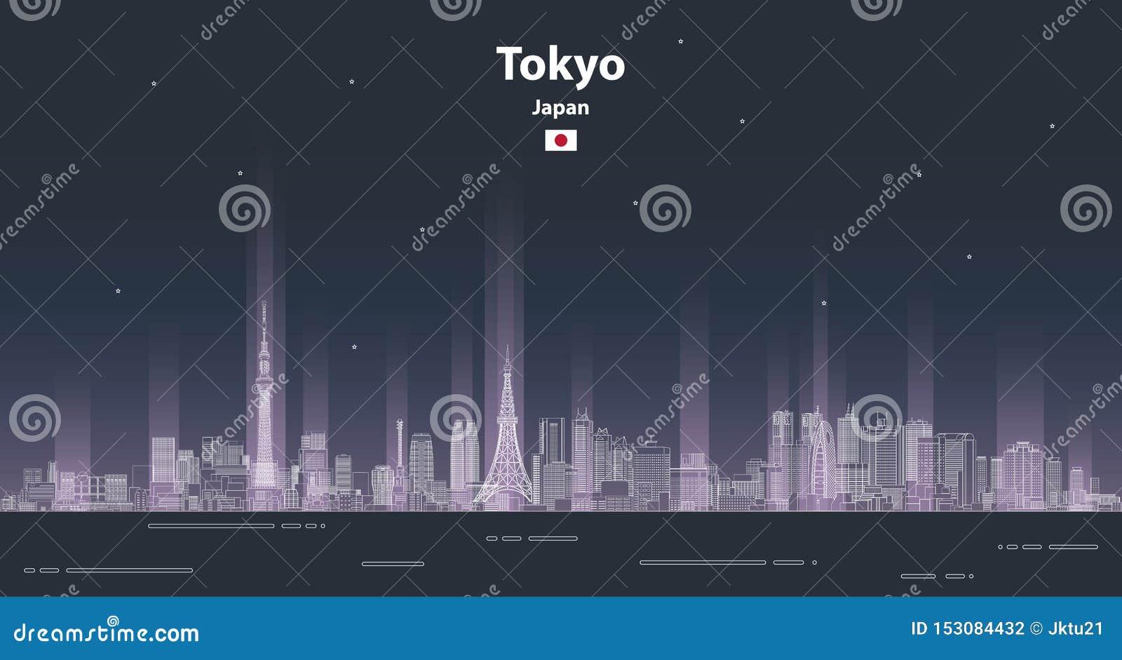 Linha ilustração detalhada da arquitetura da cidade do Tóquio do vetor do estilo da arte Fundo do curso