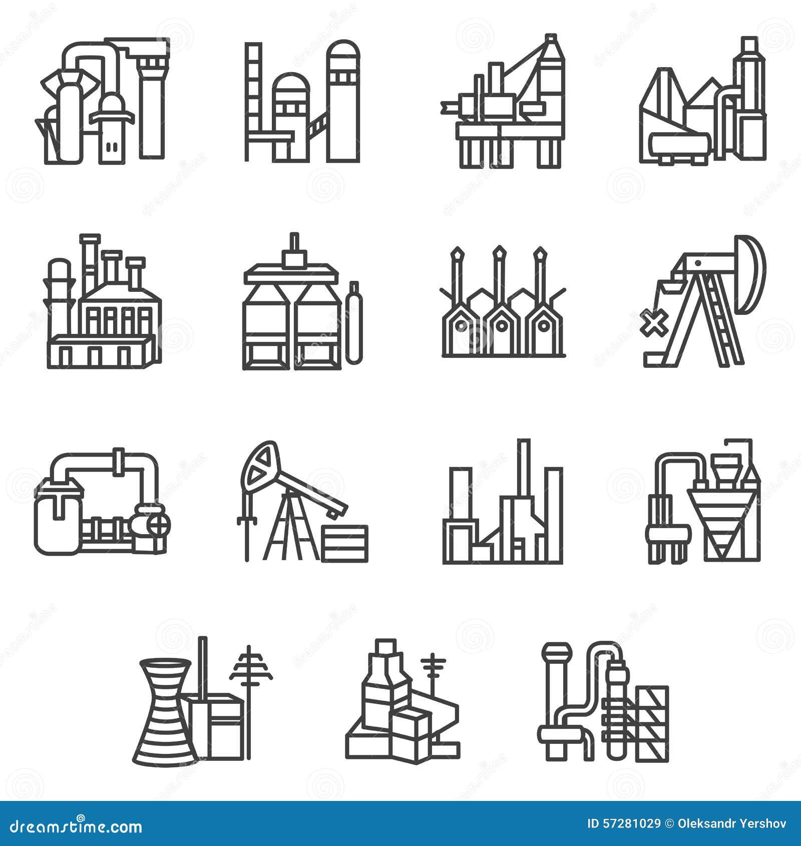 Linha industrial cones dos objetos ajustados ilustra o for Comedor para dibujar