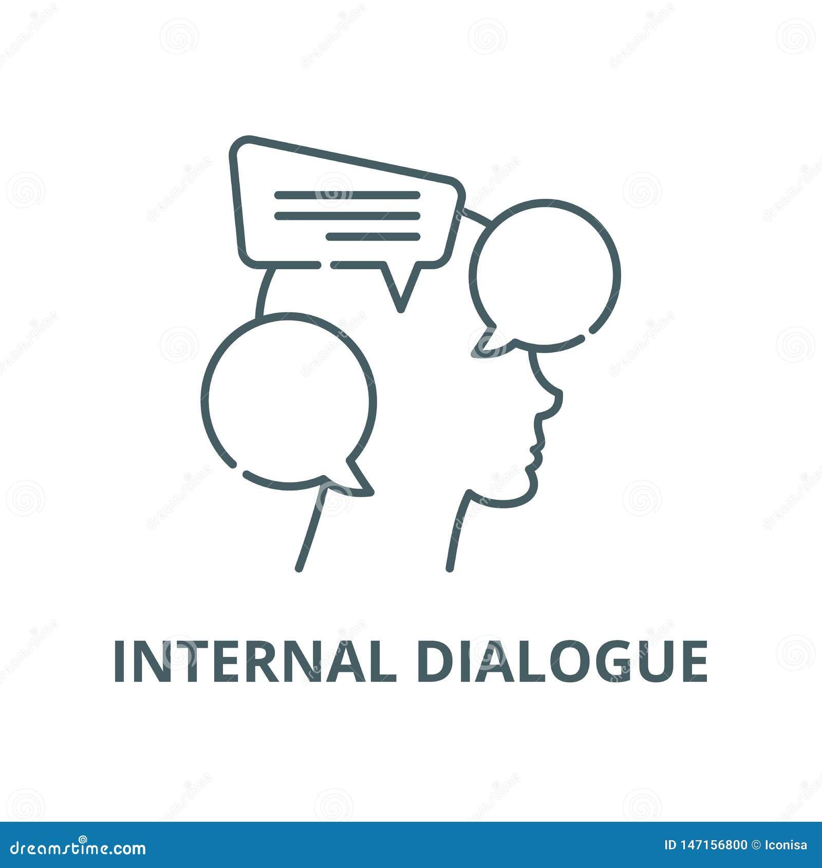 Linha interna ícone do vetor do diálogo, conceito linear, sinal do esboço, símbolo