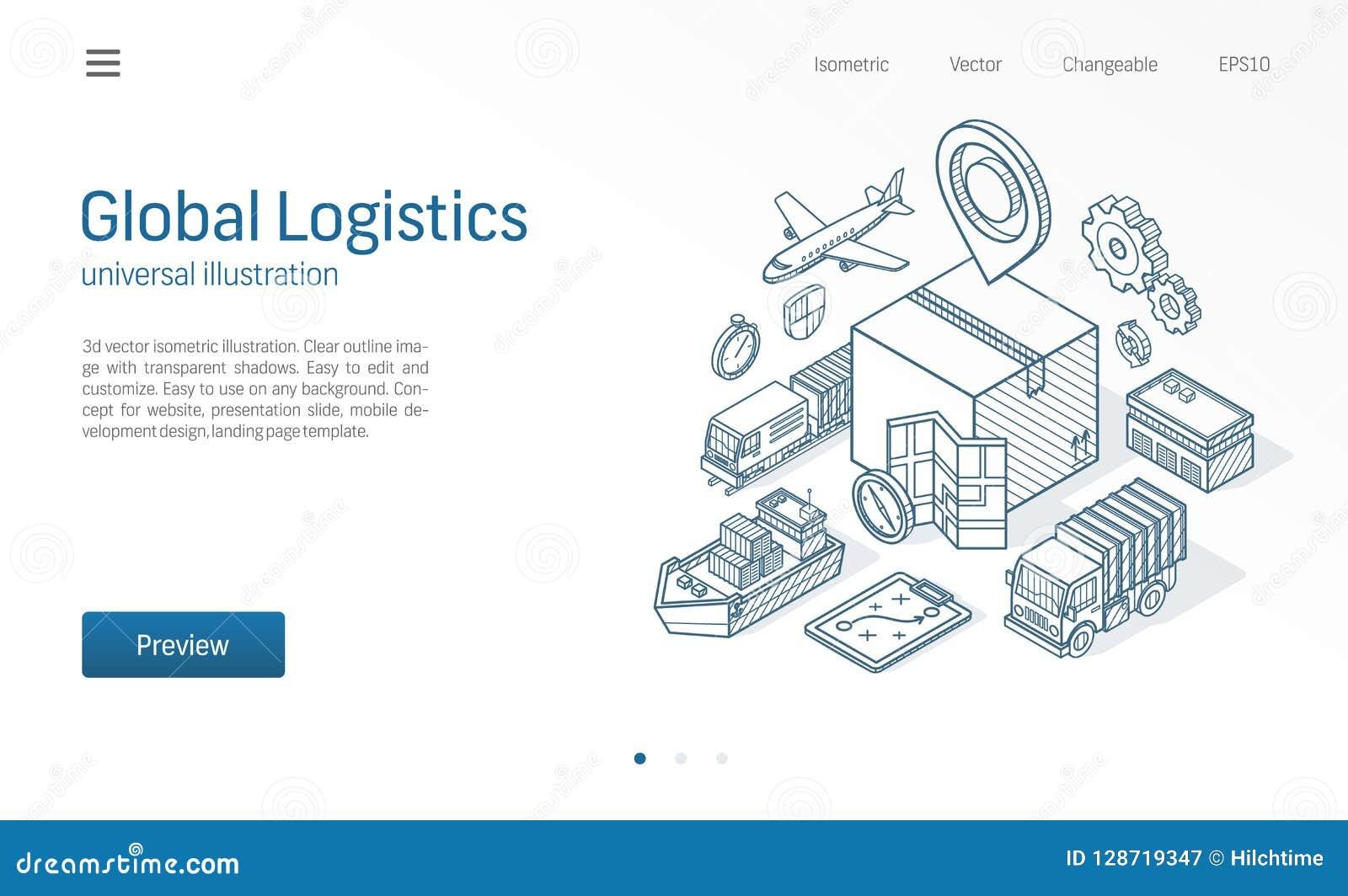 Linha isométrica moderna ilustração do serviço logístico global Exportação, importação, negócio do armazém, esboço do transporte