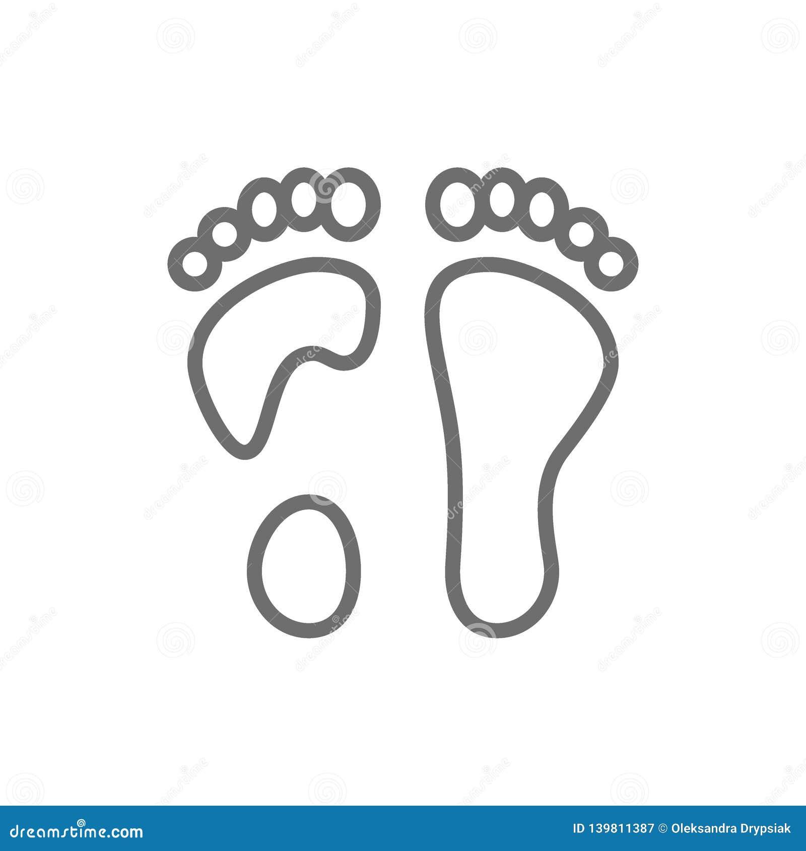 Linha lisa ícone do pé
