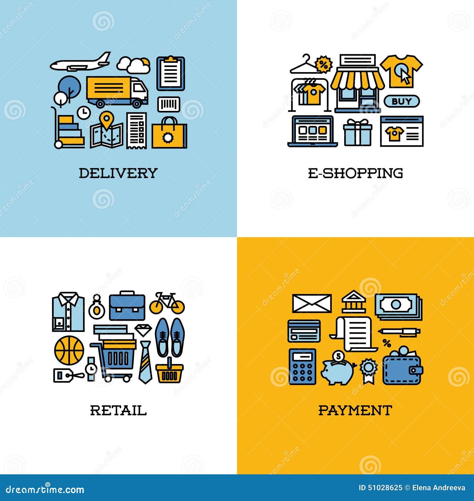 Linha lisa ícones ajustados da entrega, e-compra, retalho, pagamento