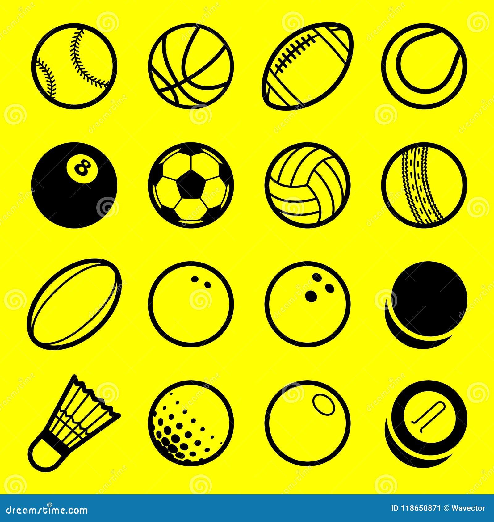 Linha lisa ícones do vetor do logotipo das bolas do esporte do jogo da arte ajustados