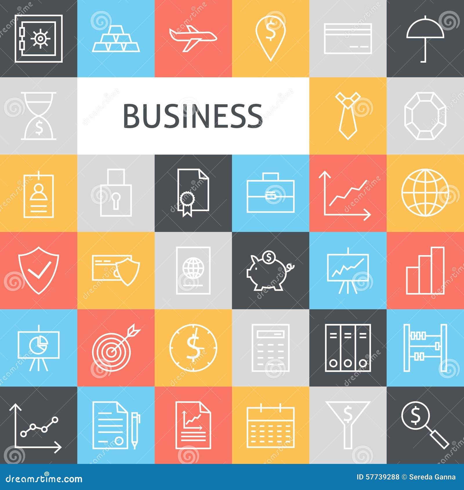 Linha lisa Art Modern Business Icons Set do vetor