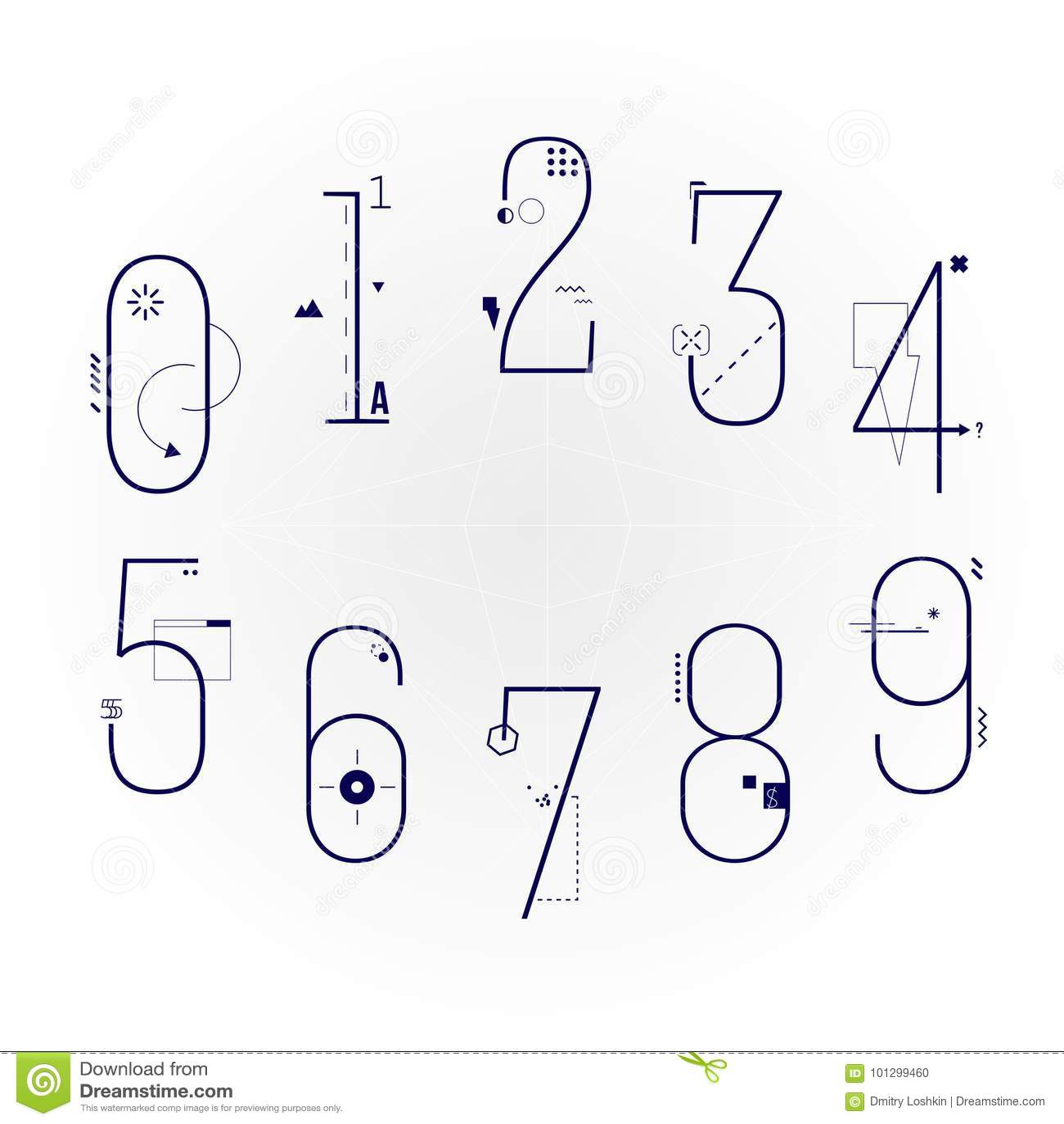 Linha lisa gráfica Art Style Numbers Set Caráter tipo geométrico do numeral dos objetos