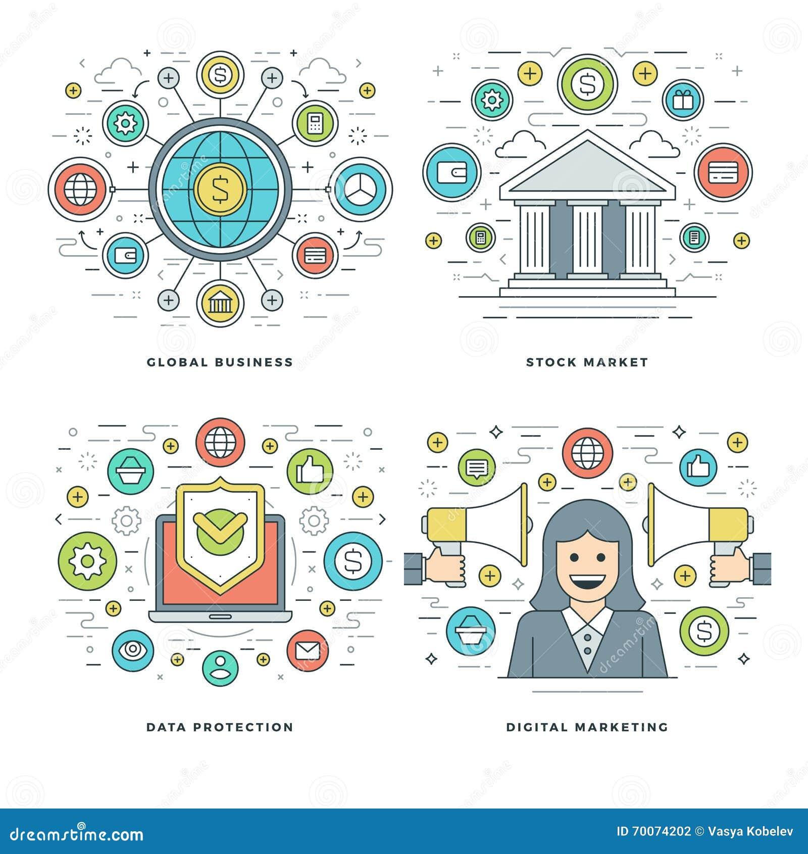 A linha lisa mercado de valores de ação, proteção de dados, mercado de Digitas, conceitos do negócio ajustou ilustrações do vetor