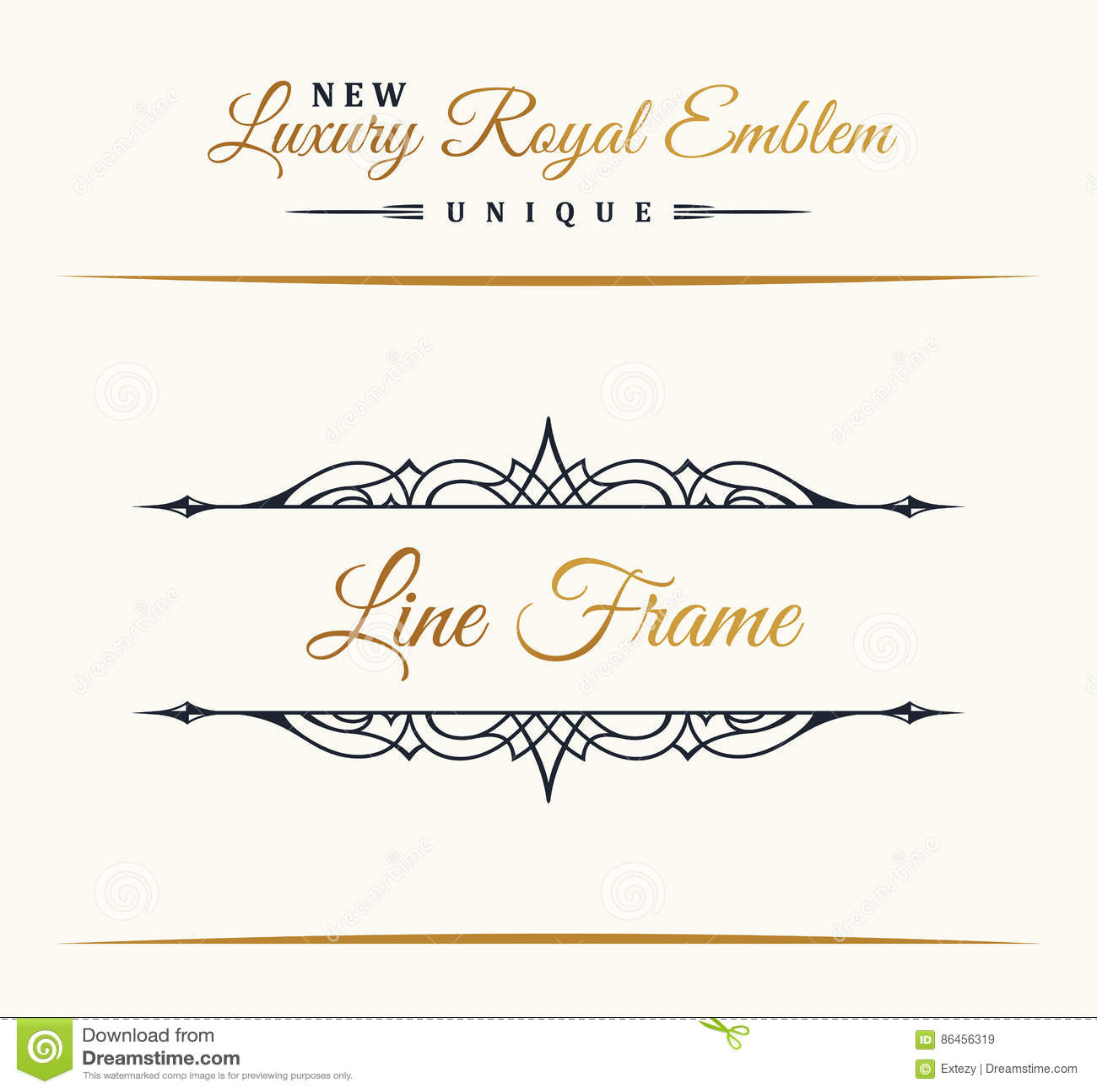 Linha luxuosa caligráfica logotipo Floresce o monograma elegante do emblema Projeto real do divisor do vintage