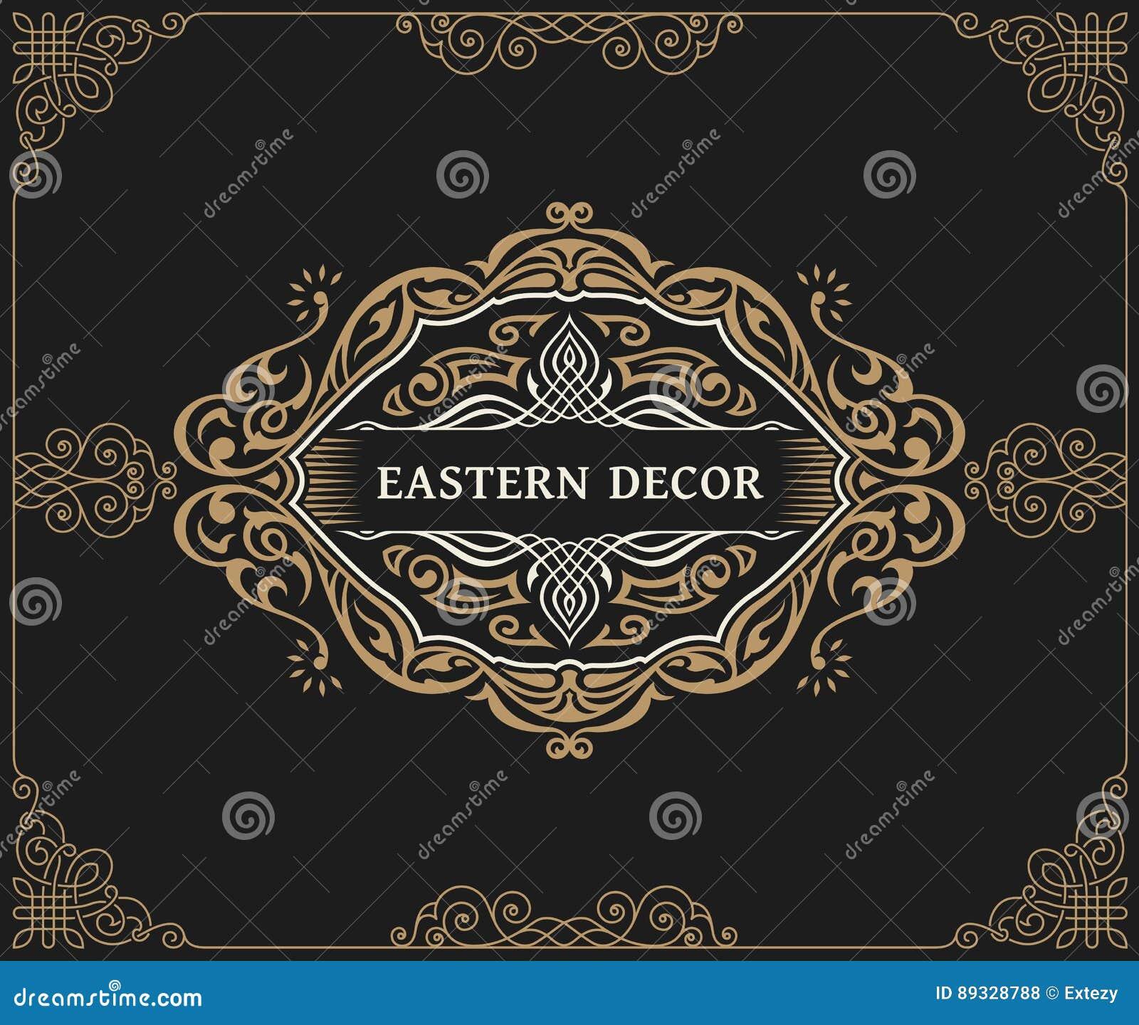 Linha luxuosa caligráfica símbolo Floresce o monograma elegante do emblema Projeto real do divisor do vintage