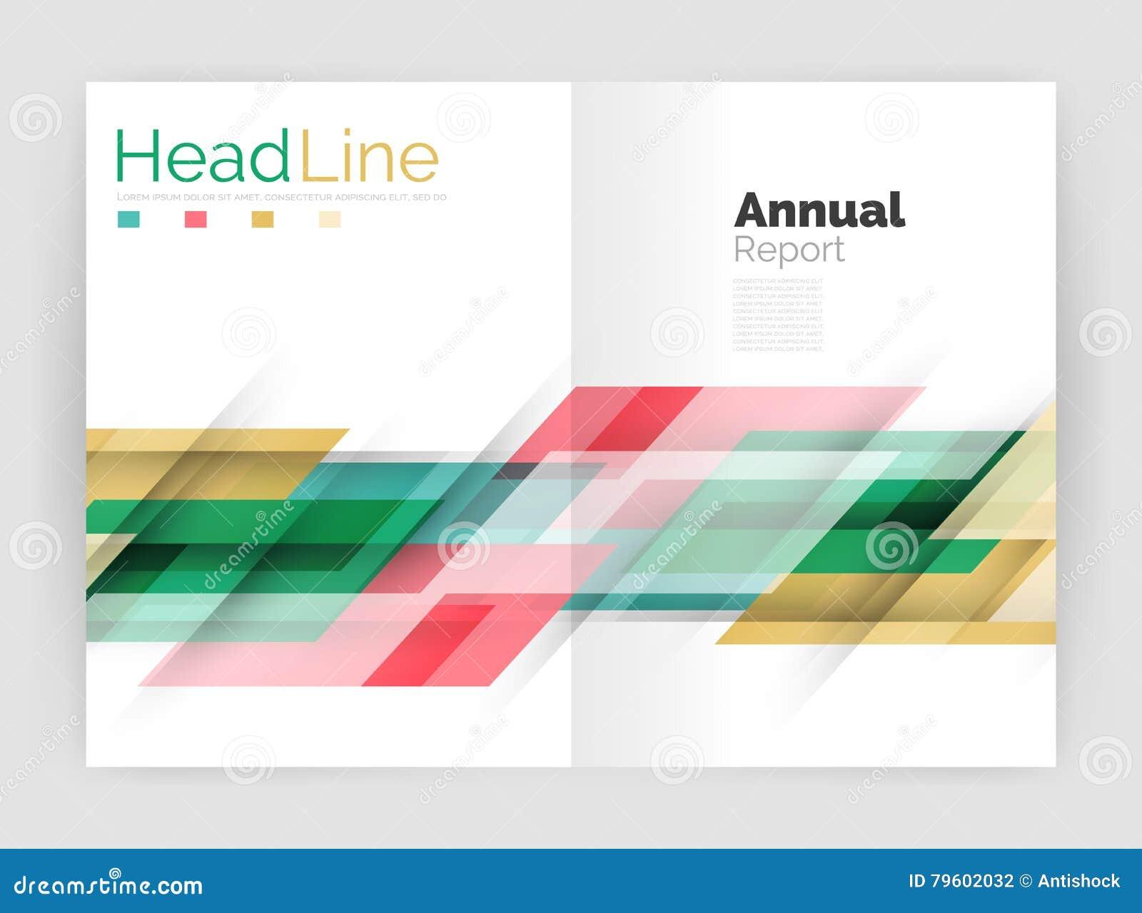 Linha moderna projeto, conceito do movimento Moldes do folheto do informe anual do negócio