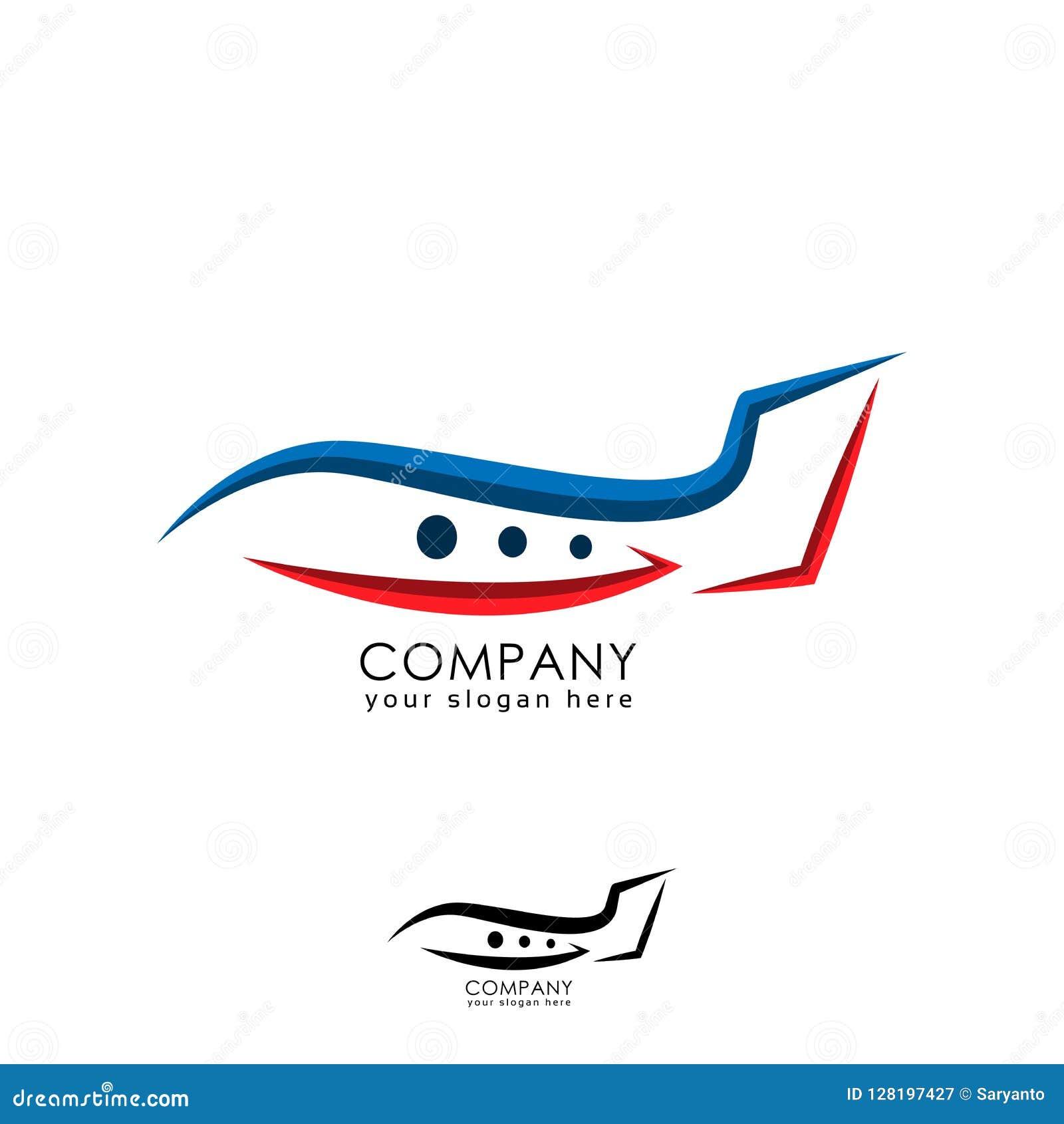 Linha molde do logotipo do avião no fundo branco