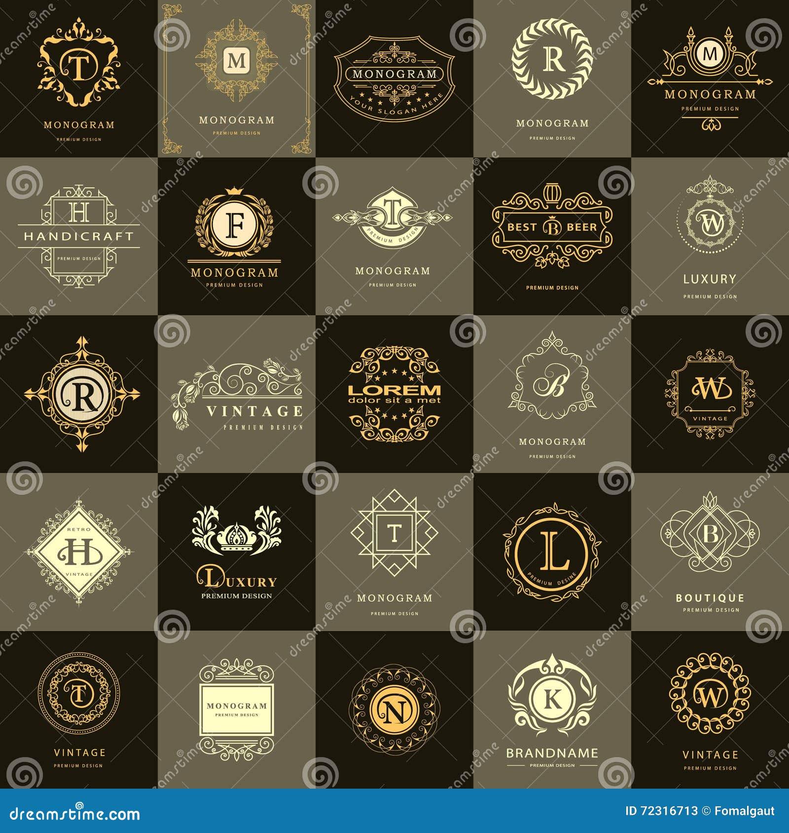Linha monograma dos gráficos Moldes do projeto dos logotipos do vintage ajustados Emblema da letra do sinal do negócio Coleção do