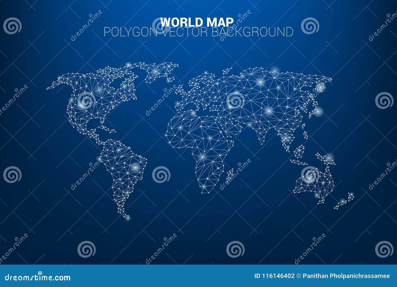 Linha polígono da conexão do ponto do mapa do mundo: conceito do mundo digital, conexão de dados