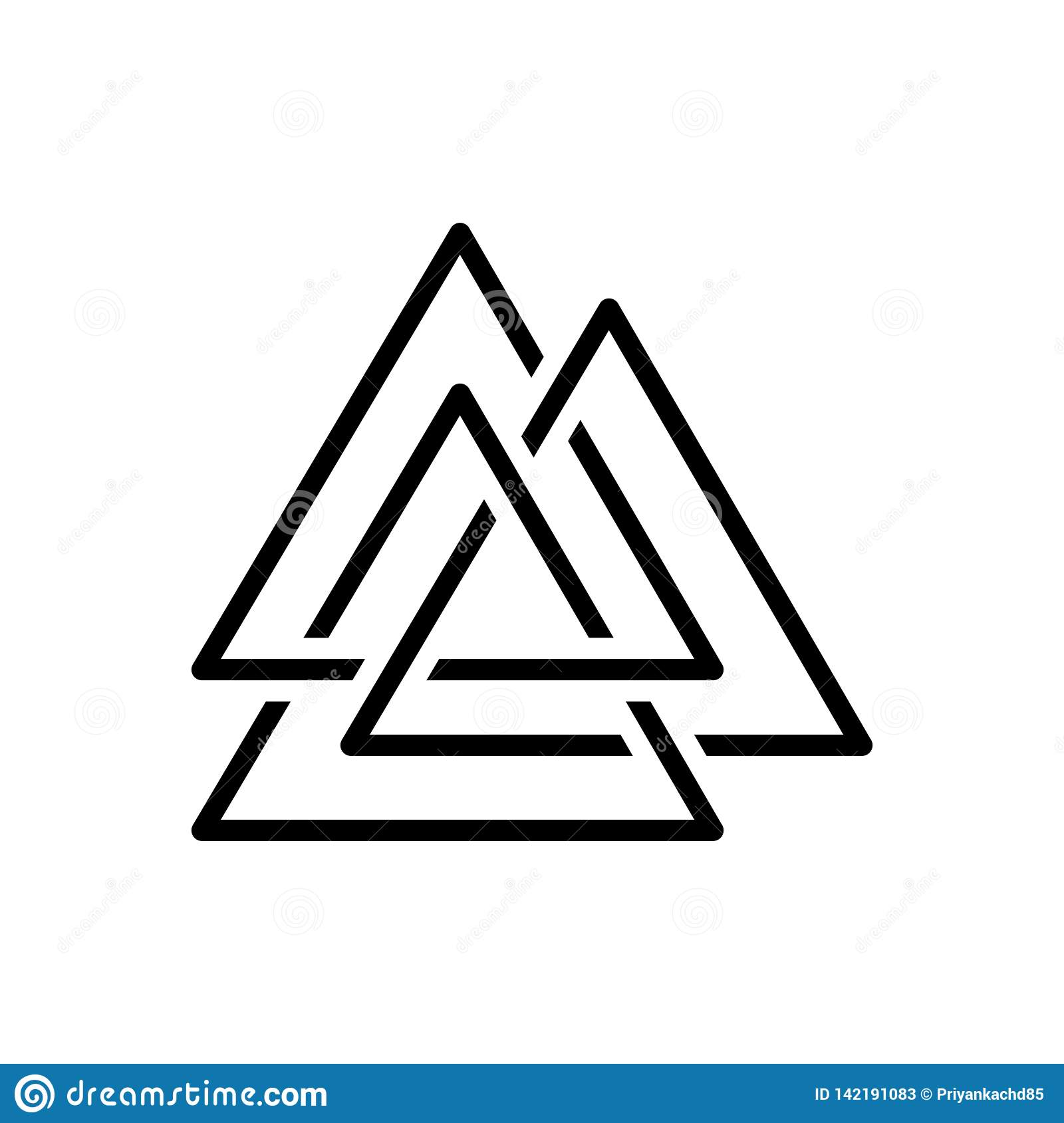 Linha preta ícone para Asgard, logotipo e trinity