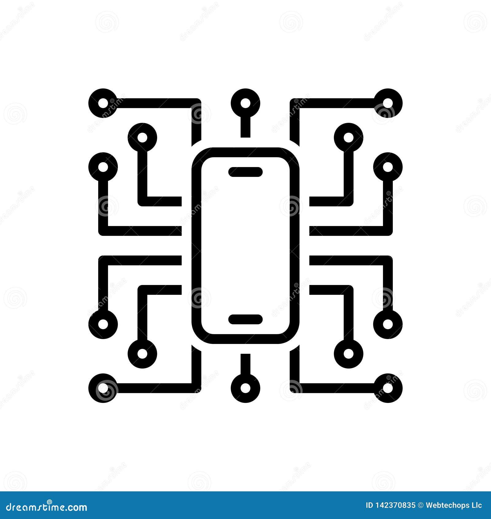 Linha preta ícone para a digitalização, a tecnologia e o software