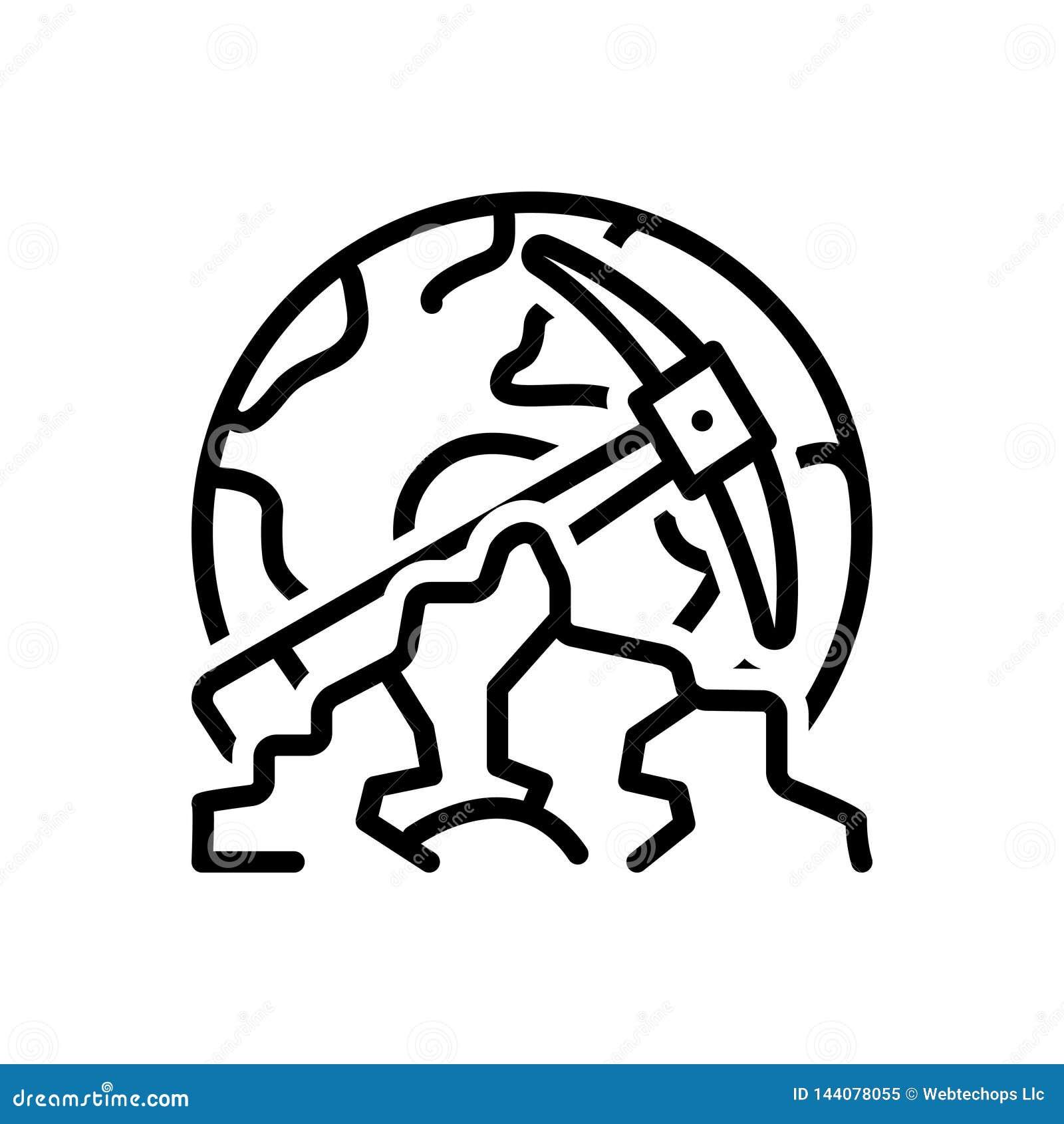 Linha preta ícone para Geological, o geólogo e a paisagem