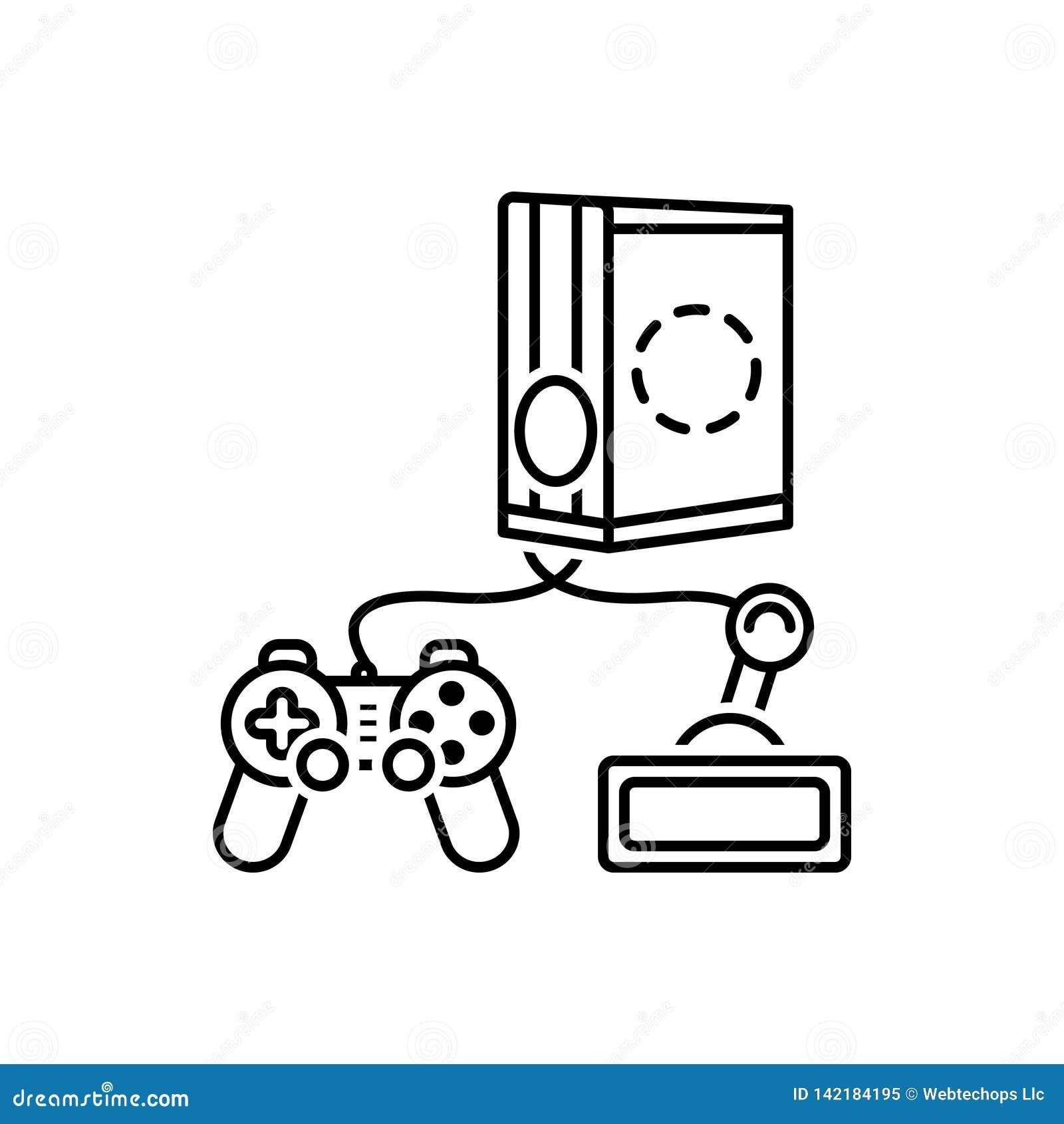 Linha preta ícone para jogos, console e playstation