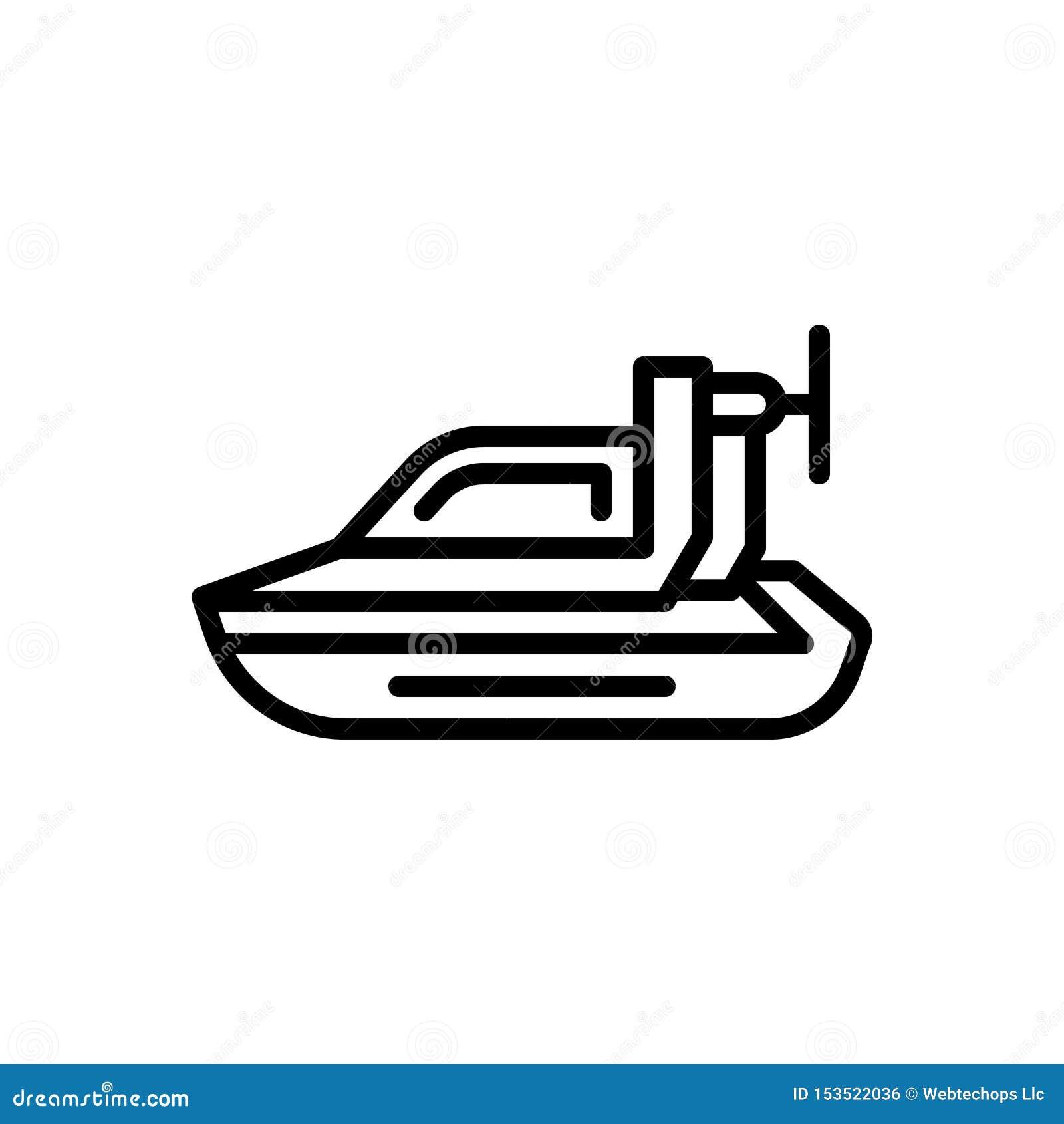Linha preta ícone para o aerodeslizador pessoal, o pairo e a bicicleta