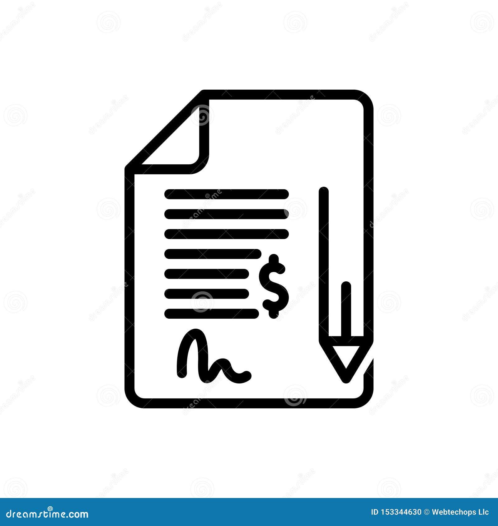 Linha preta ícone para o contrato, a ligação e o compromisso