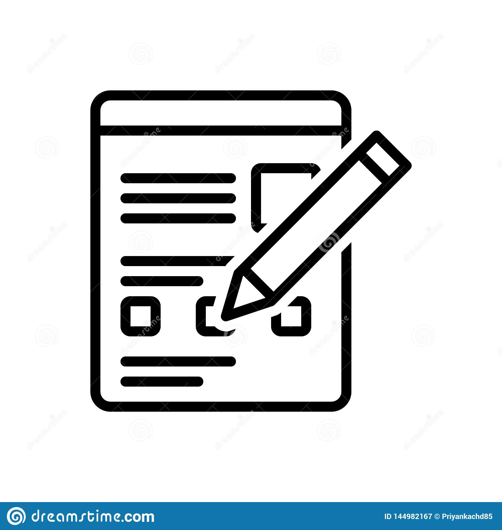 Linha preta ícone para o formulário, a página e o documento