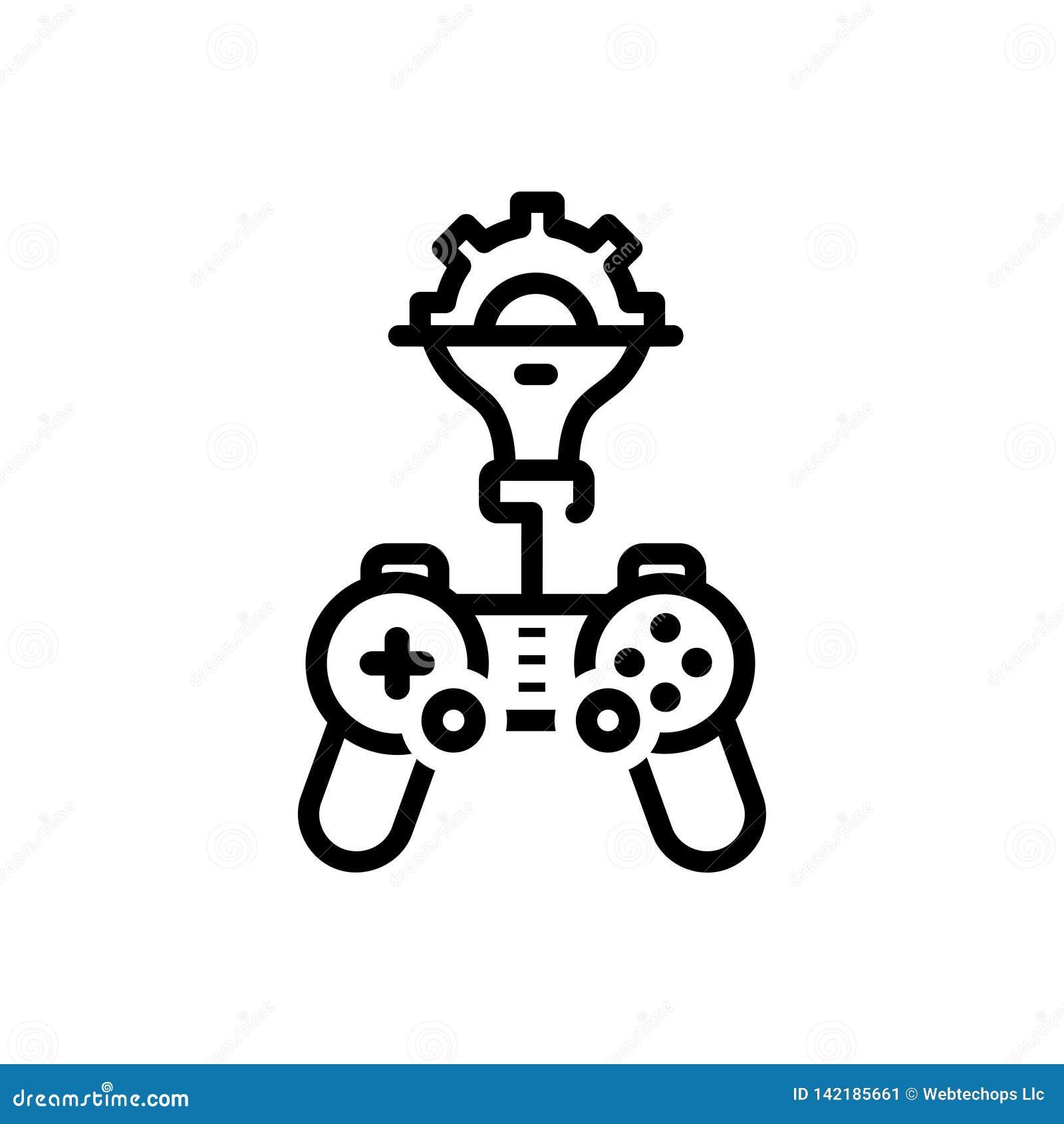 Linha preta ícone para o jogo, tornar-se e o esporte