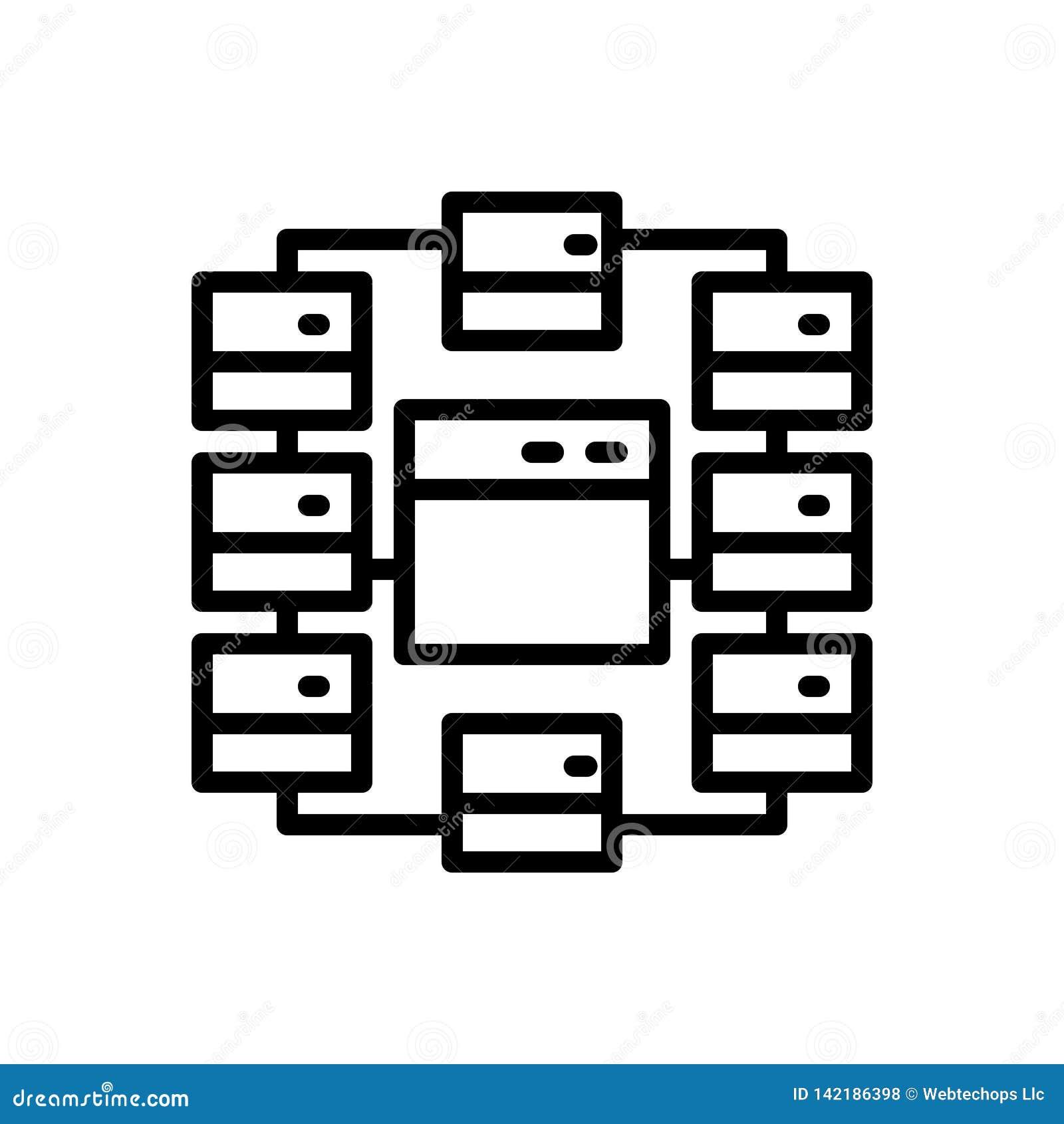 Linha preta ícone para o local, o mapa e o fluxograma