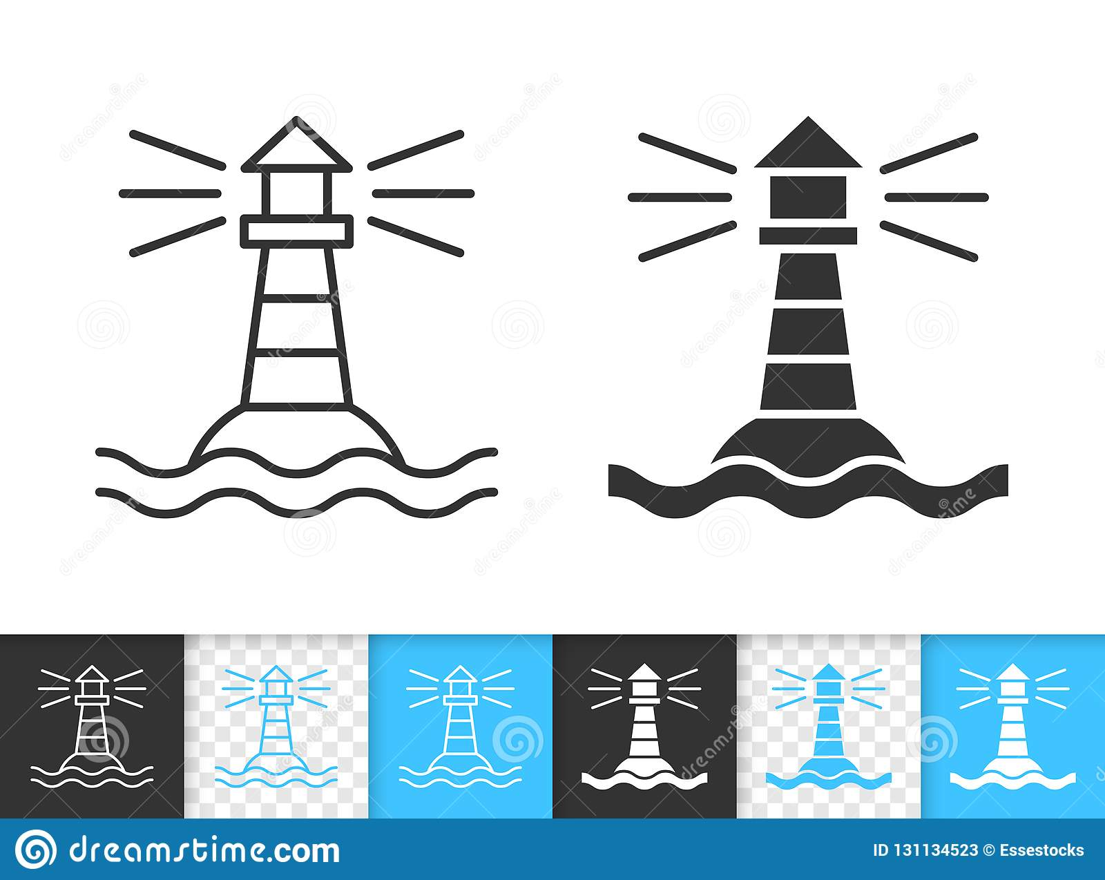 Linha preta simples ícone do farol marinho do vetor