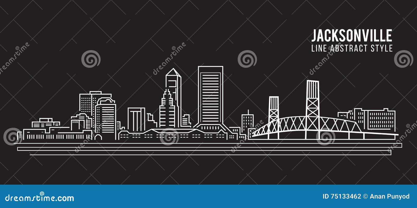Linha projeto da construção da arquitetura da cidade da ilustração do vetor da arte - cidade de jacksonville