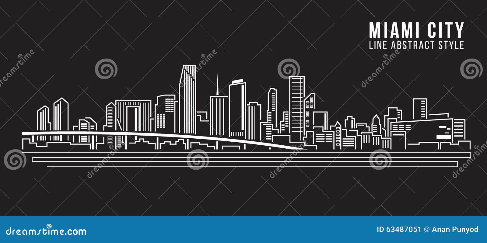 Linha projeto da construção da arquitetura da cidade da ilustração do vetor da arte - cidade de Miami
