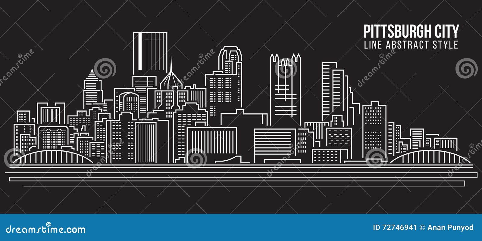 Linha projeto da construção da arquitetura da cidade da ilustração do vetor da arte - cidade de Pittsburgh