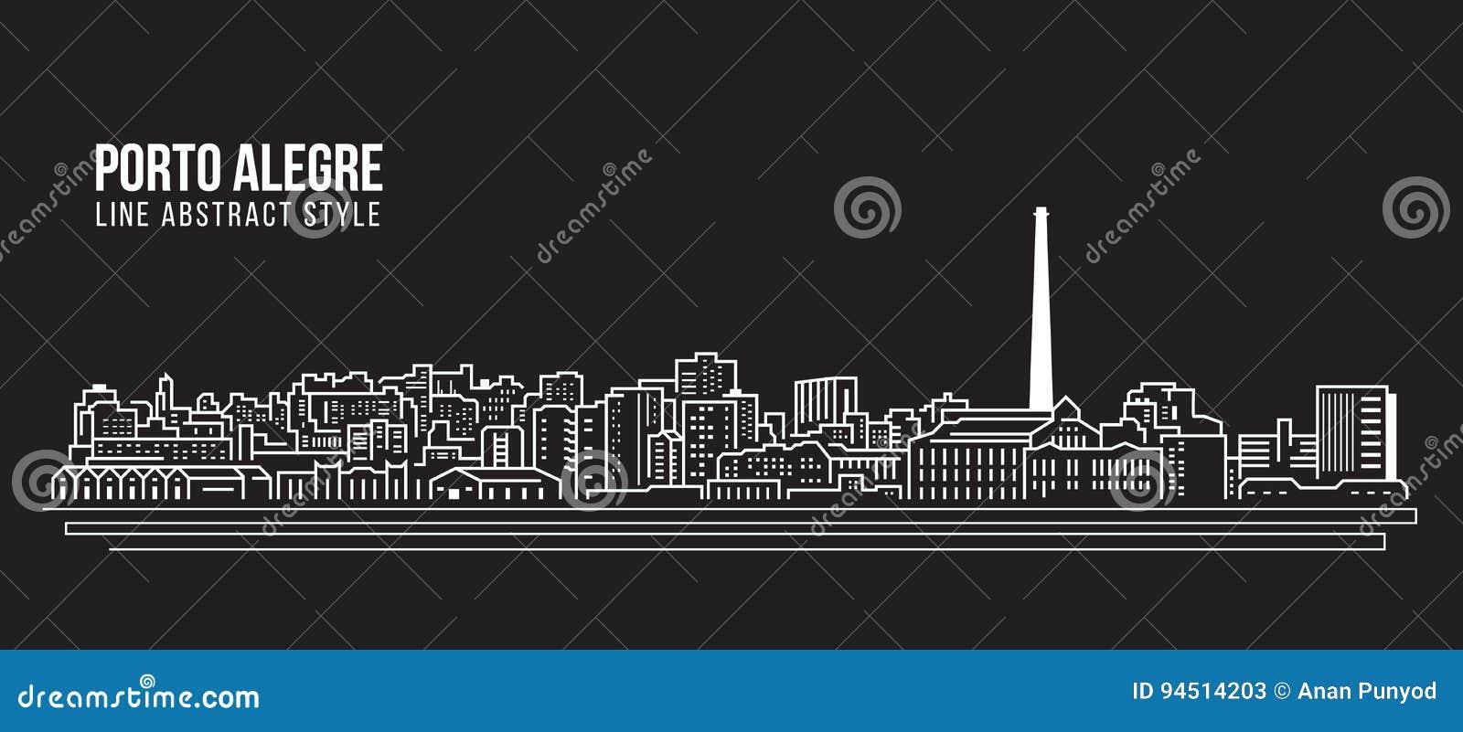 Linha projeto da construção da arquitetura da cidade da ilustração do vetor da arte - cidade de Porto Alegre