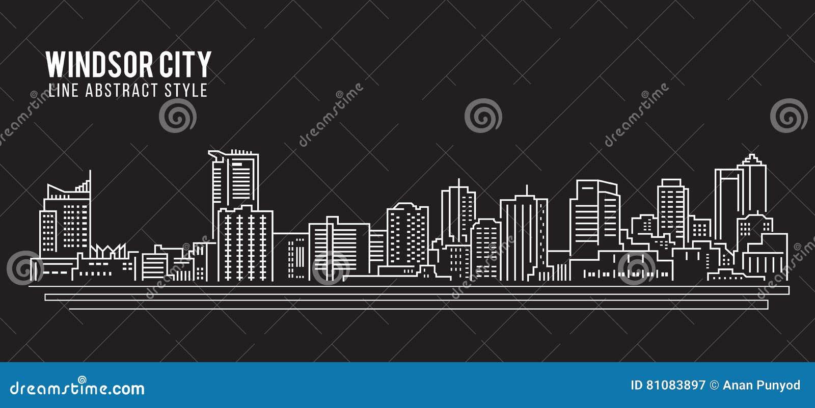 Linha projeto da construção da arquitetura da cidade da ilustração do vetor da arte - cidade de Windsor
