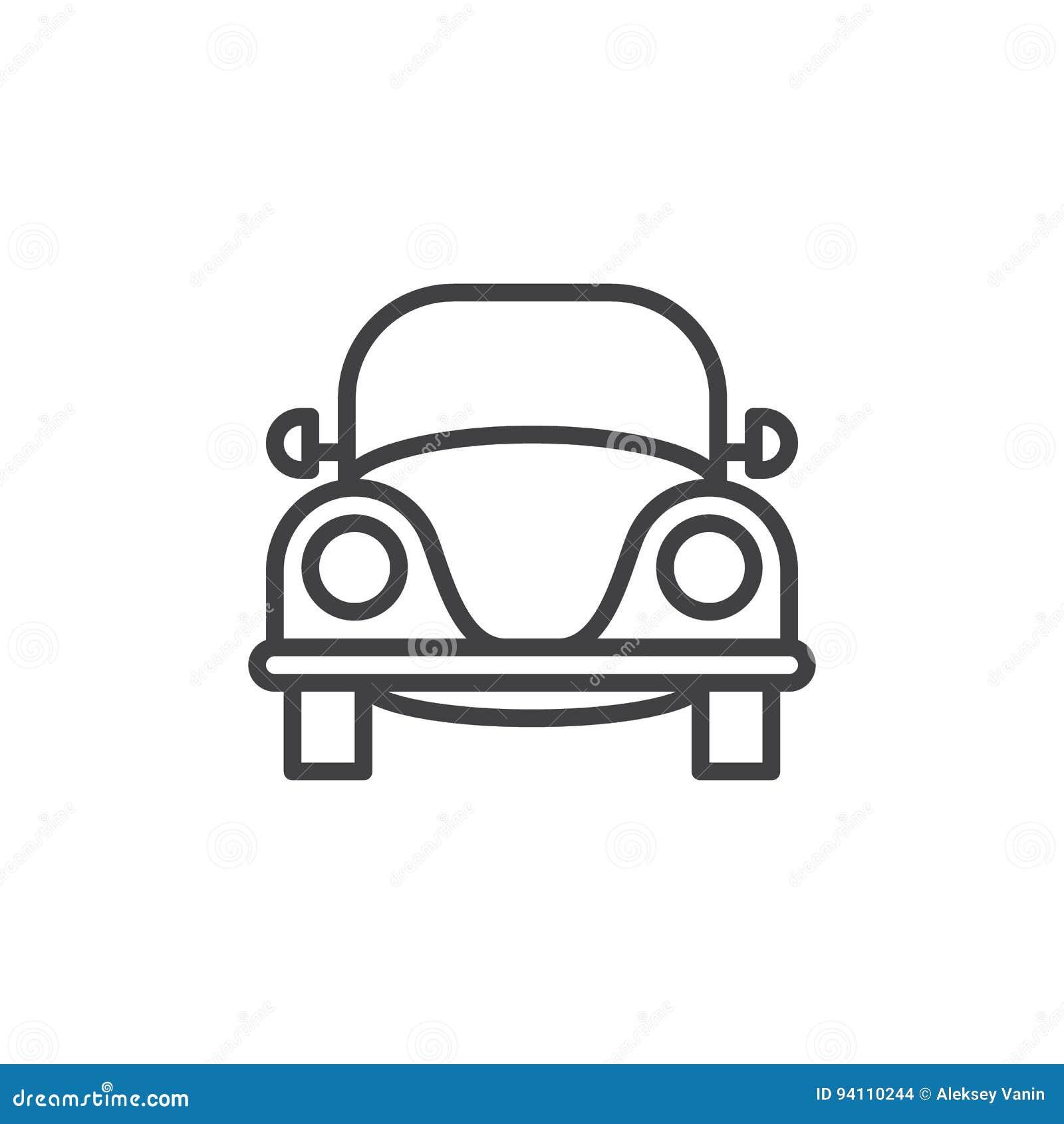 Linha retro velha ícone do carro, sinal do vetor do esboço, pictograma linear do estilo isolado no branco