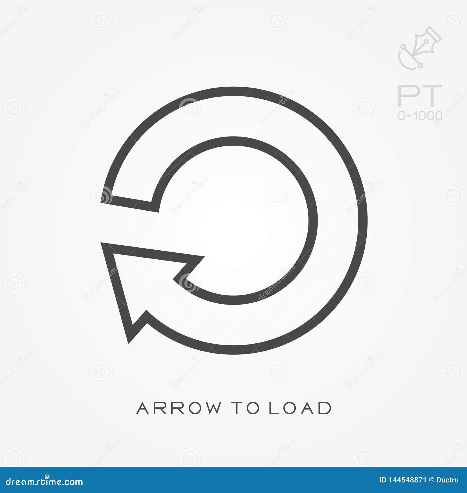 Linha seta do ícone a carregar