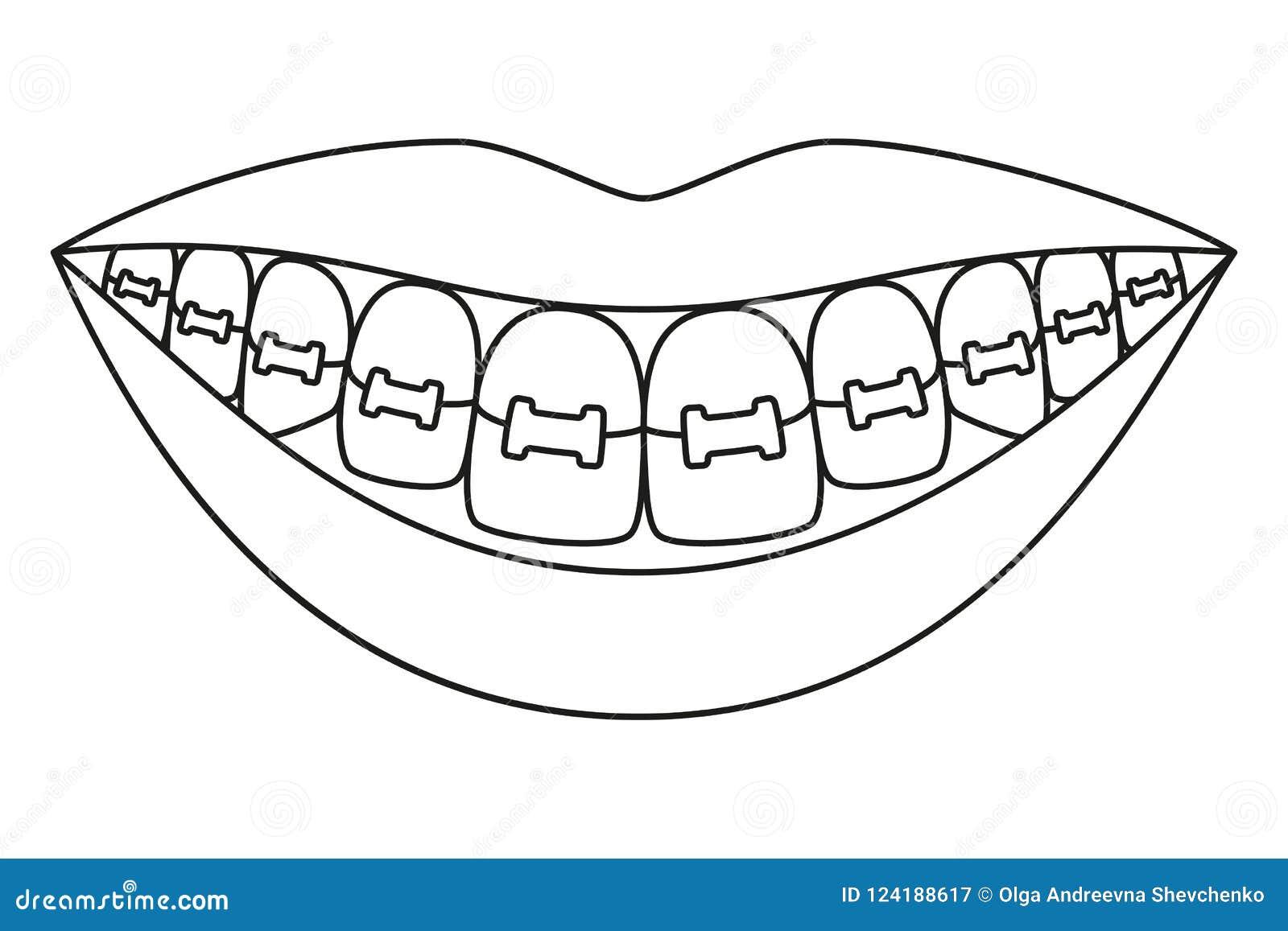 Linha sorriso saudável preto e branco da arte nas cintas