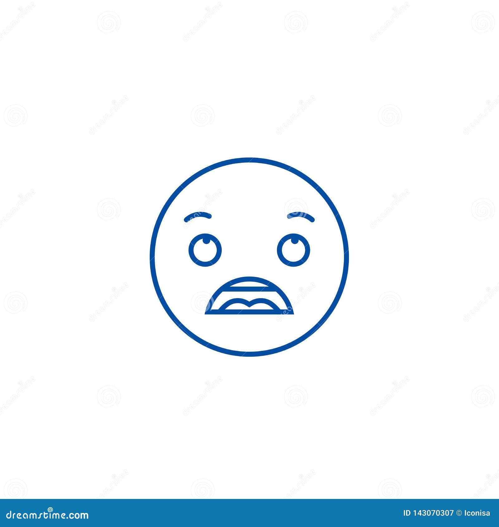 Linha surpreendida conceito do emoji do ícone Símbolo liso surpreendido do vetor do emoji, sinal, ilustração do esboço