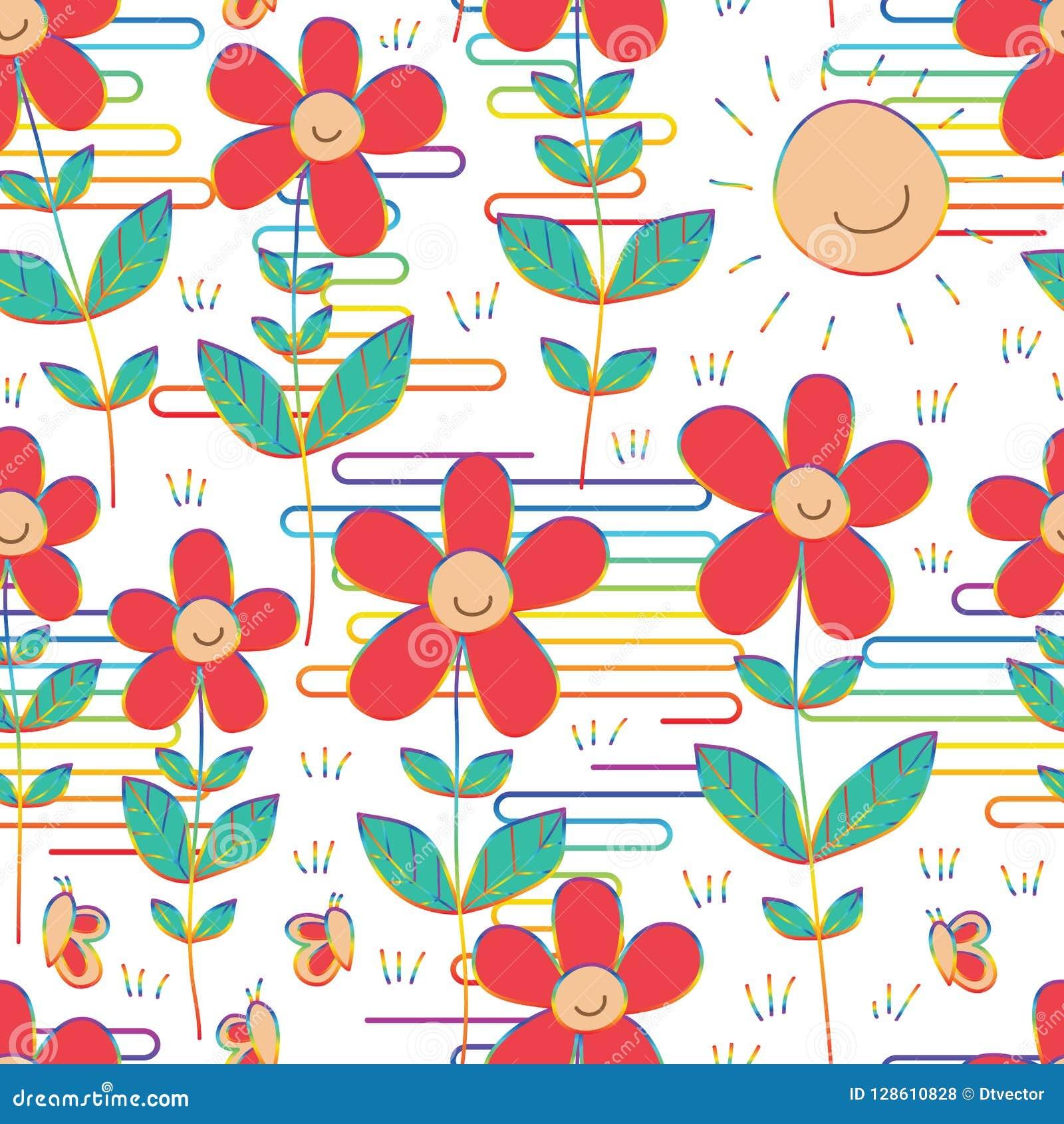Linha teste padrão sem emenda da nuvem de Japão do estilo do arco-íris da borboleta do sorriso do sol da flor