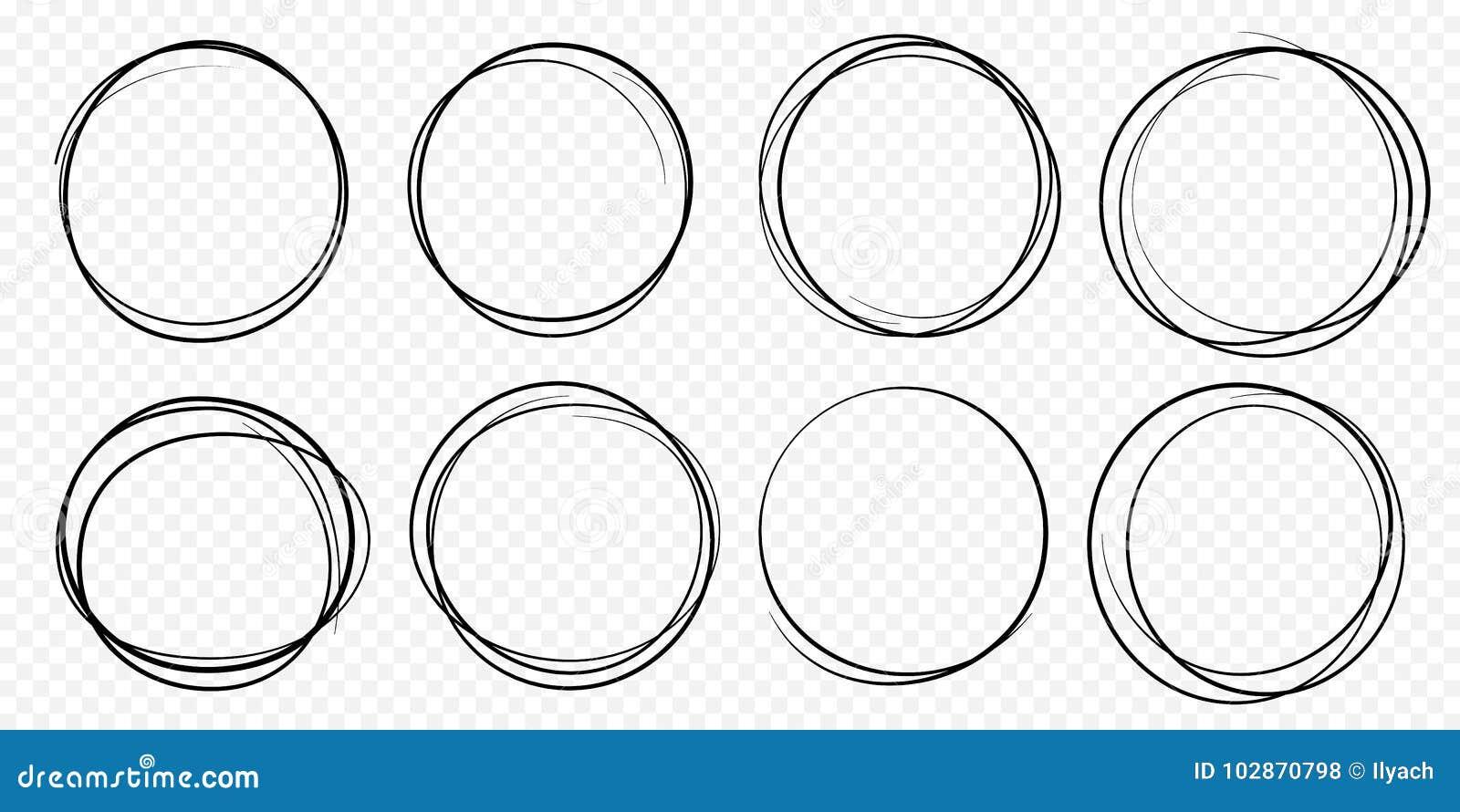 Linha tirada mão da garatuja circular ajustada do garrancho do vetor do esboço círculos redondos do círculo