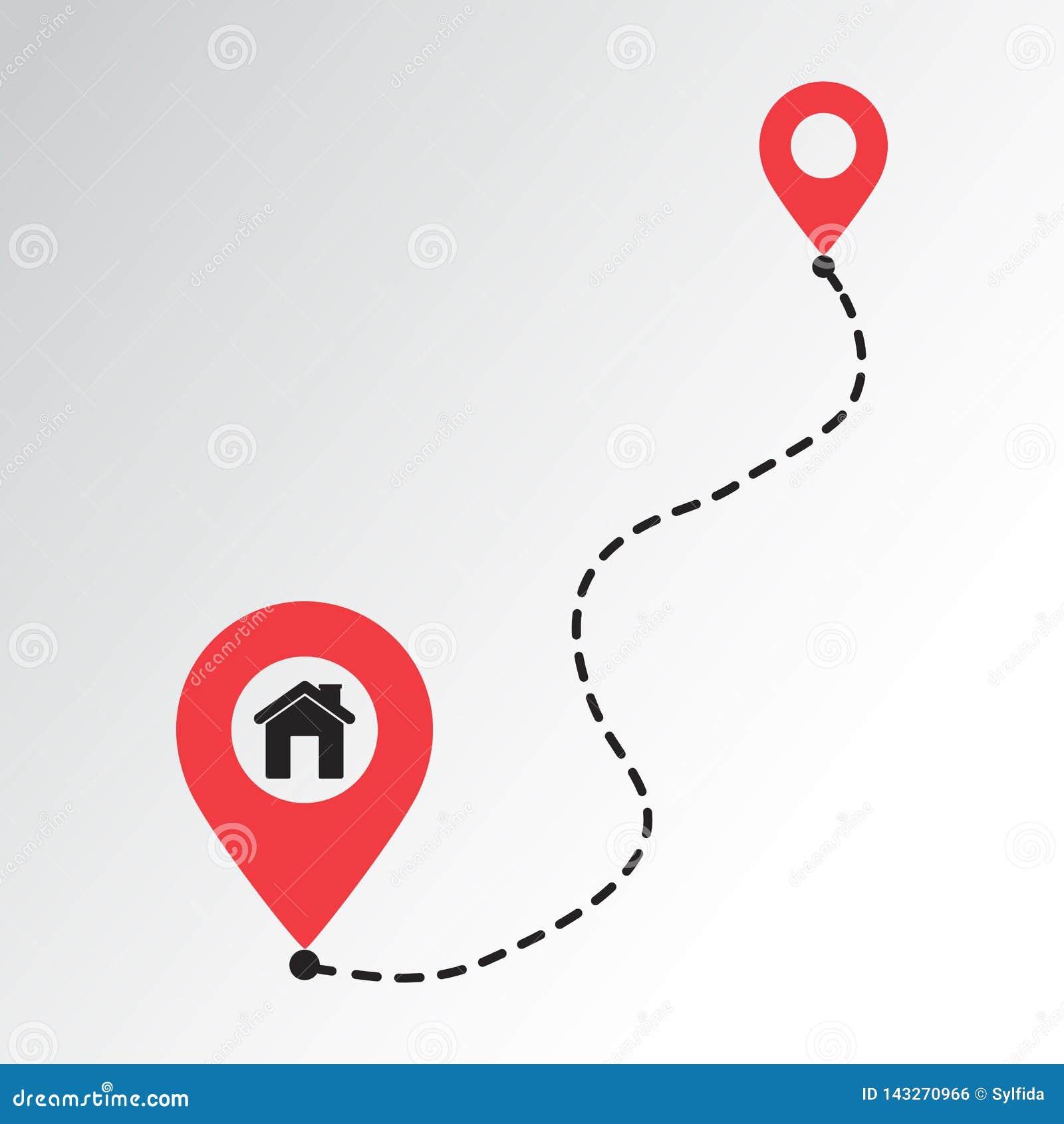 Linha trajeto da casa ?cone do lugar Ponteiro da estrada e do mapa Ilustra??o do vetor