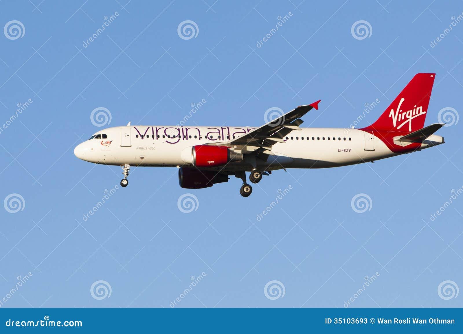 Linhas aéreas do Virgin da aterrissagem de aviões