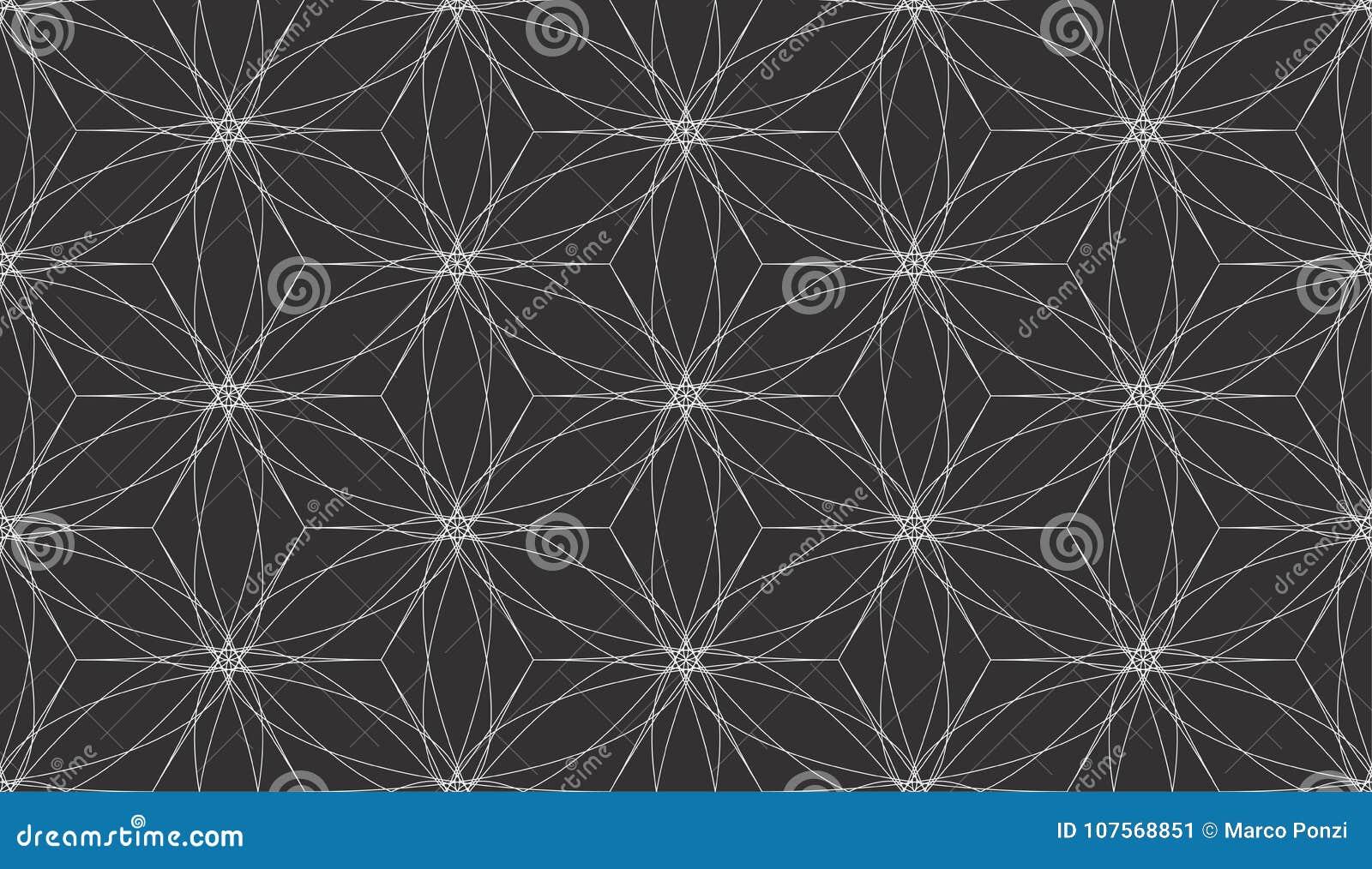 Linhas brancas abstratas vetor sem emenda geométrico do teste padrão do fundo preto